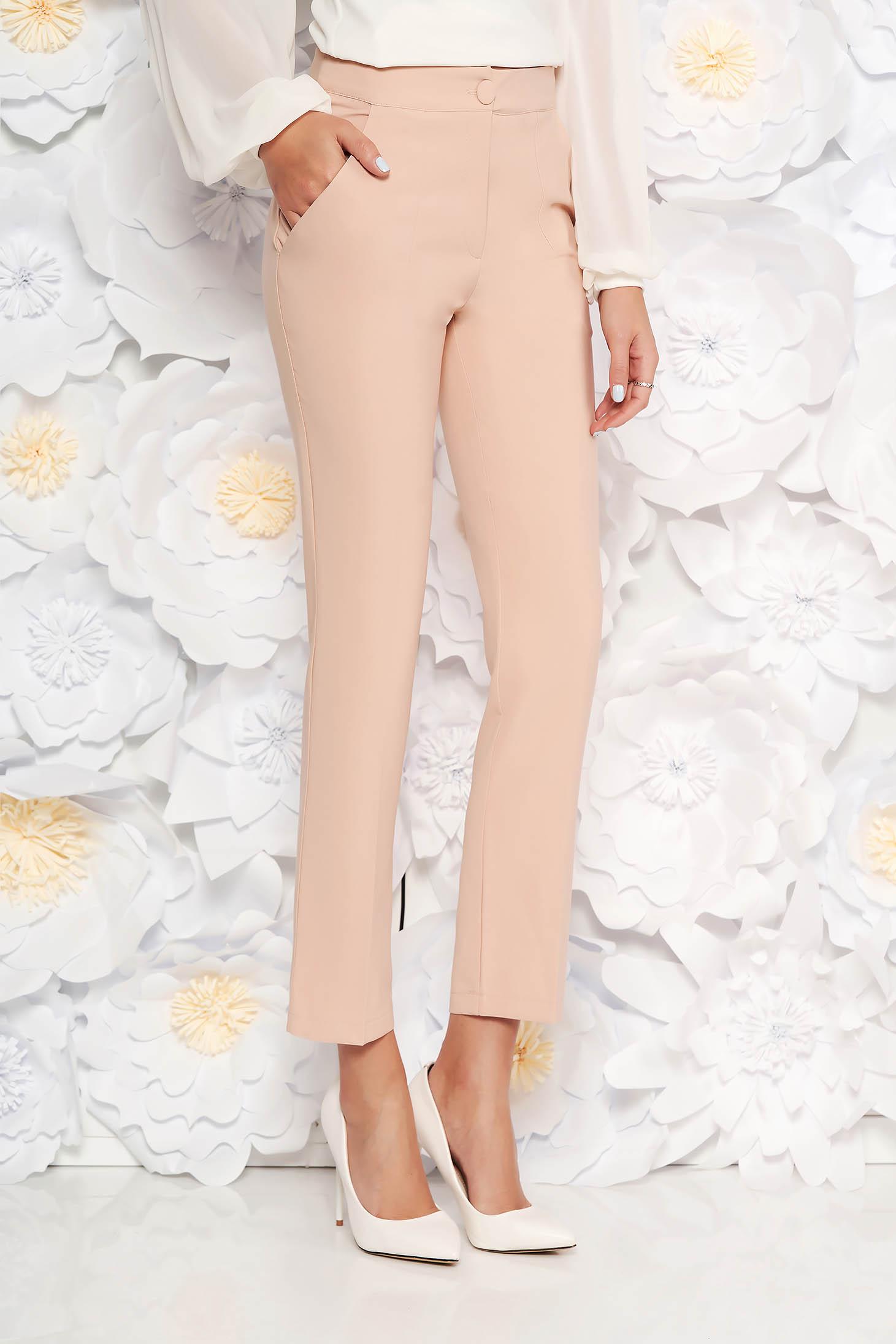 Pantaloni crem office din stofa cu talie medie cu un croi drept
