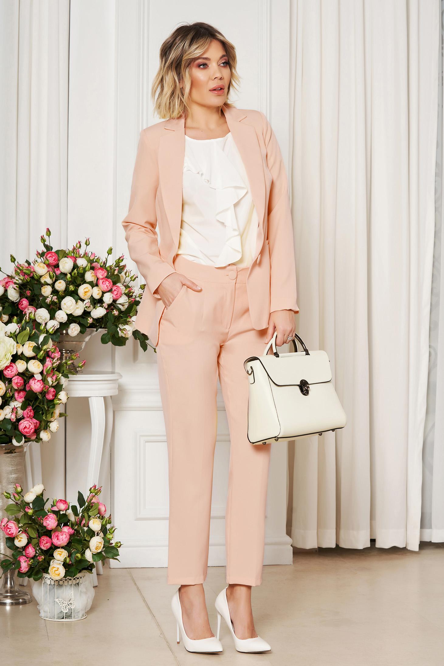 Trousers cream office cloth medium waist straight