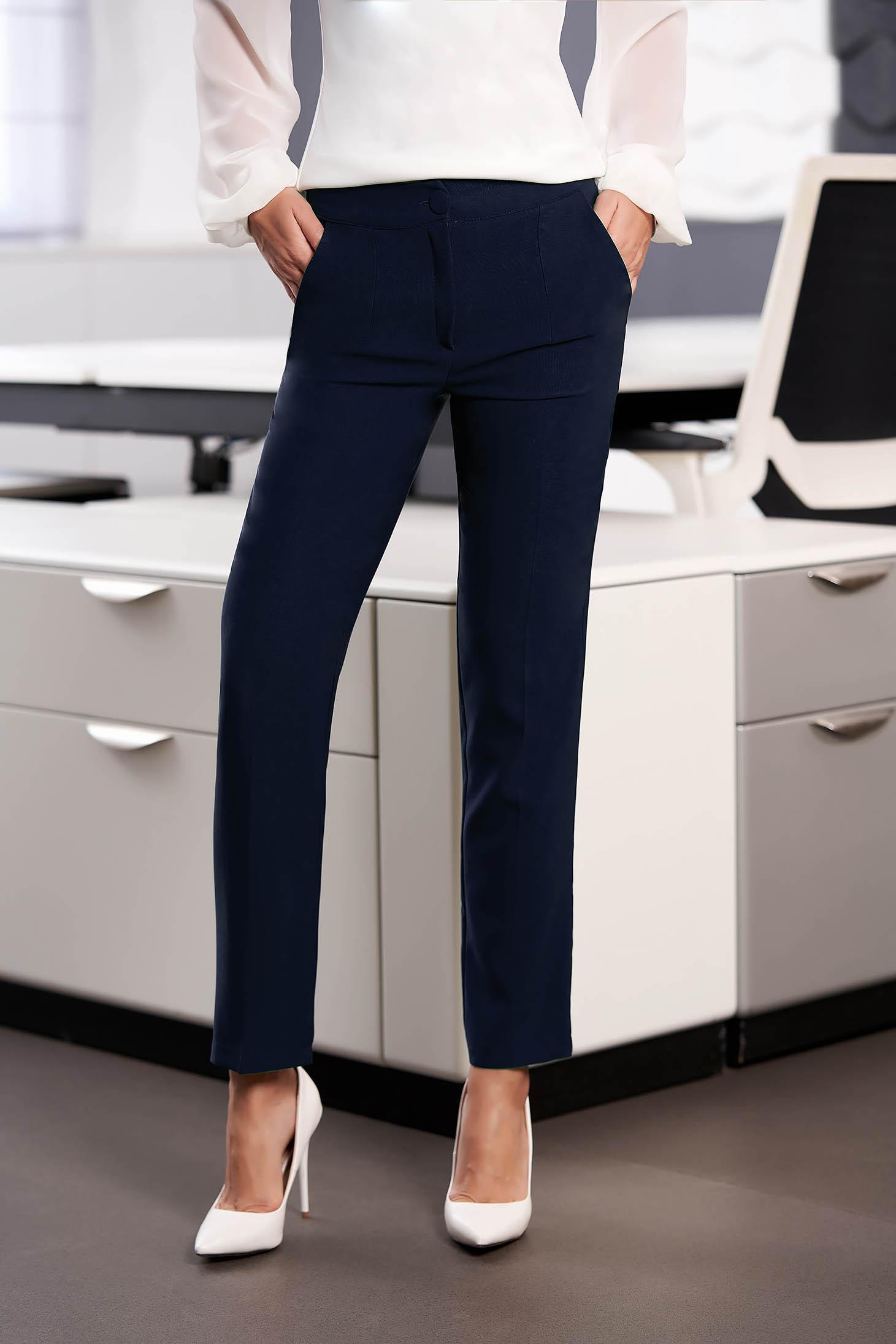 Pantaloni Artista albastru-inchis office din stofa cu talie medie si croi drept