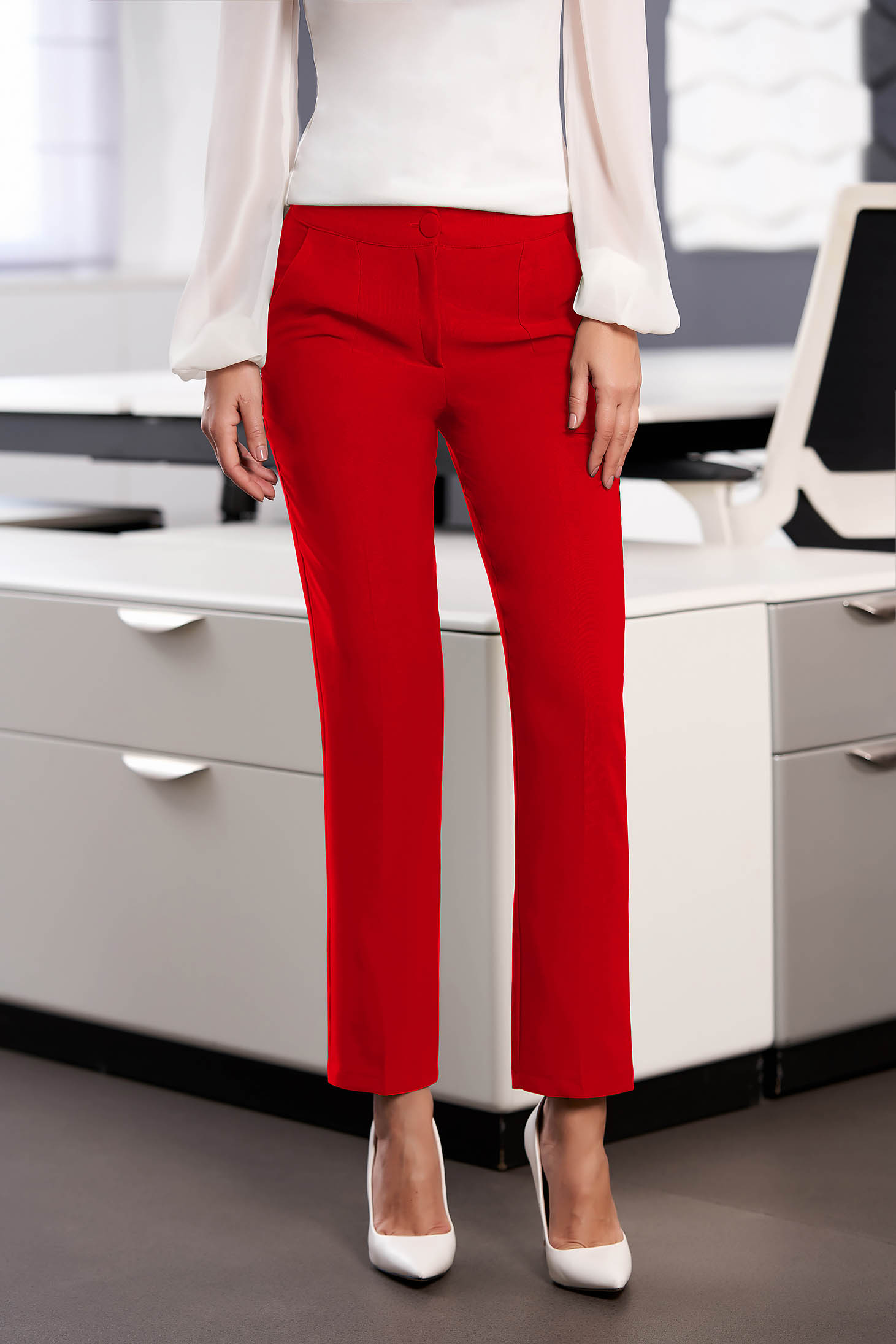 Trousers red office cloth medium waist straight