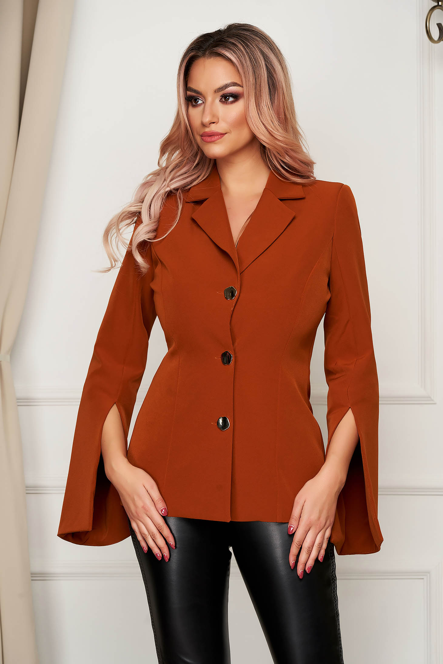 Elegant mustard tented jacket cloth thin fabric with cut-out sleeves
