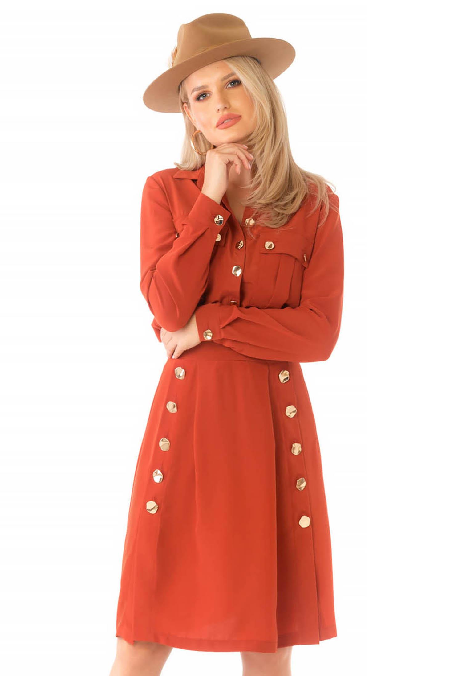 Midi daily cloche bricky long sleeved dress