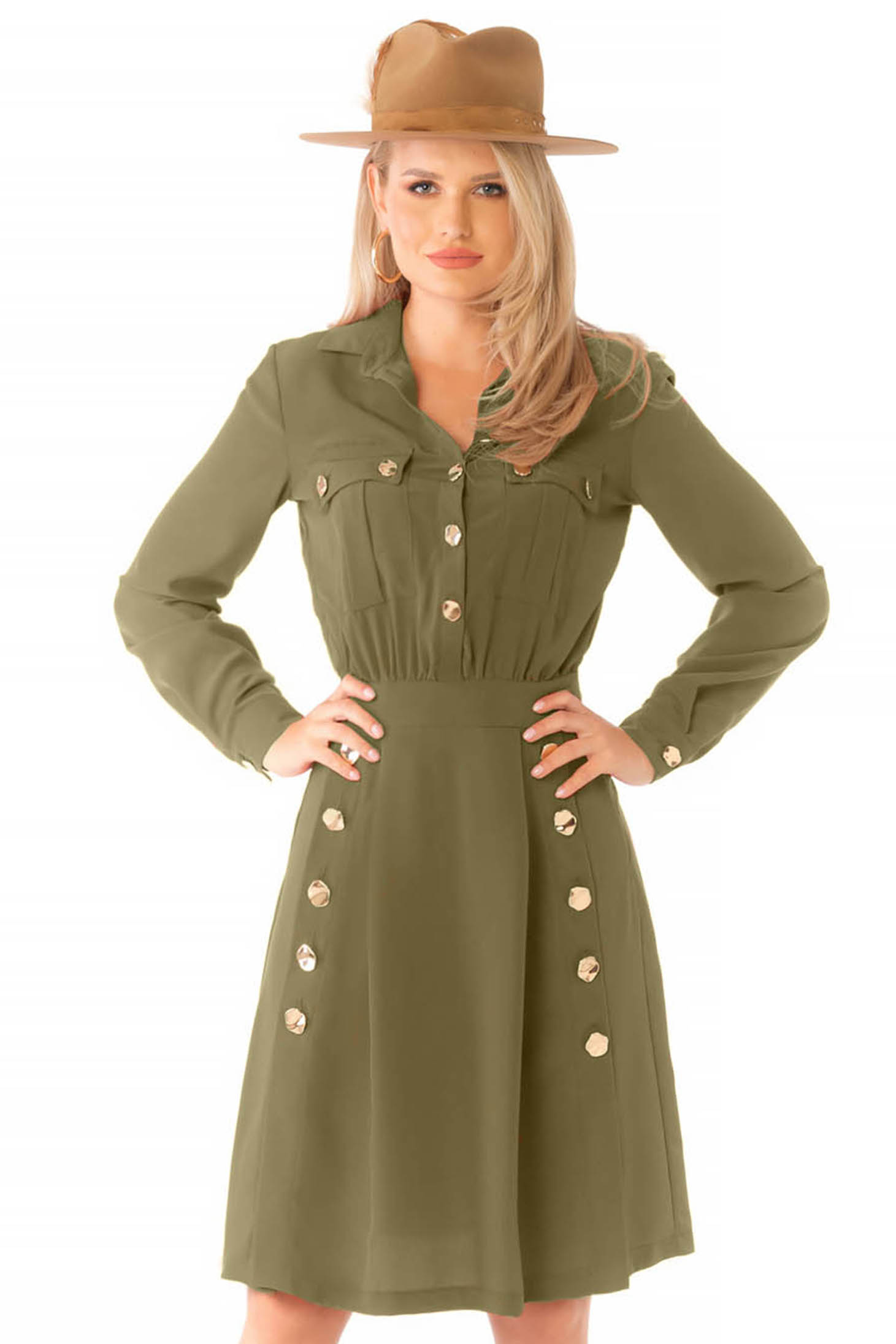 Khaki zöld hétköznapi midi harang ruha hosszú ujjakkal