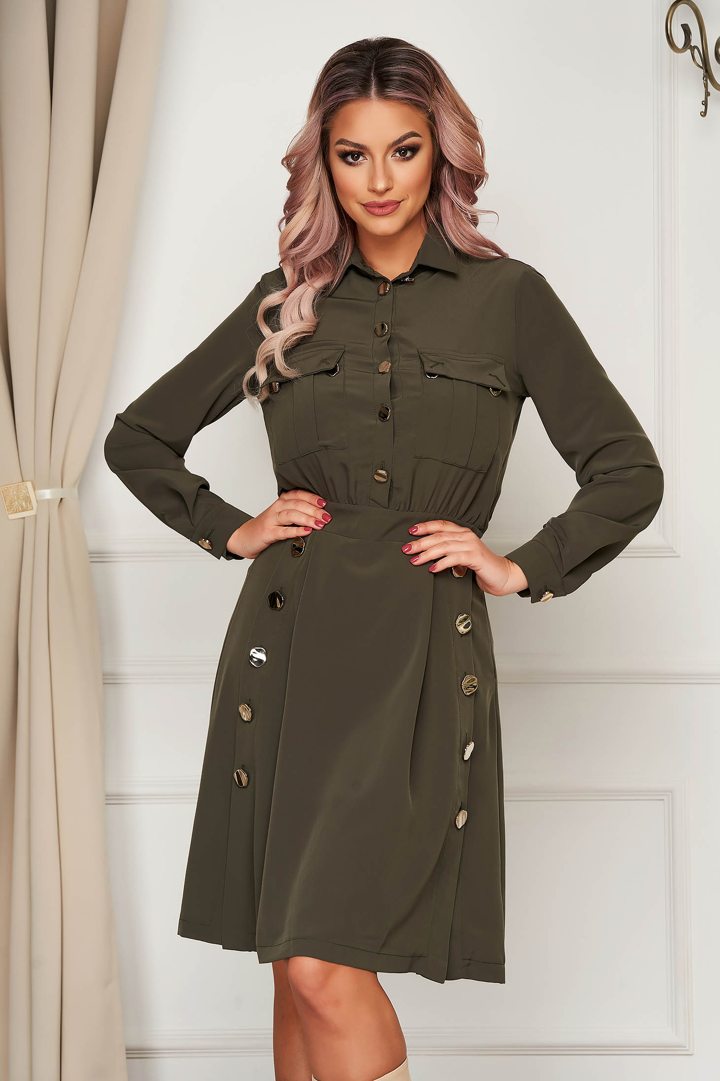 Midi daily cloche khaki long sleeved dress