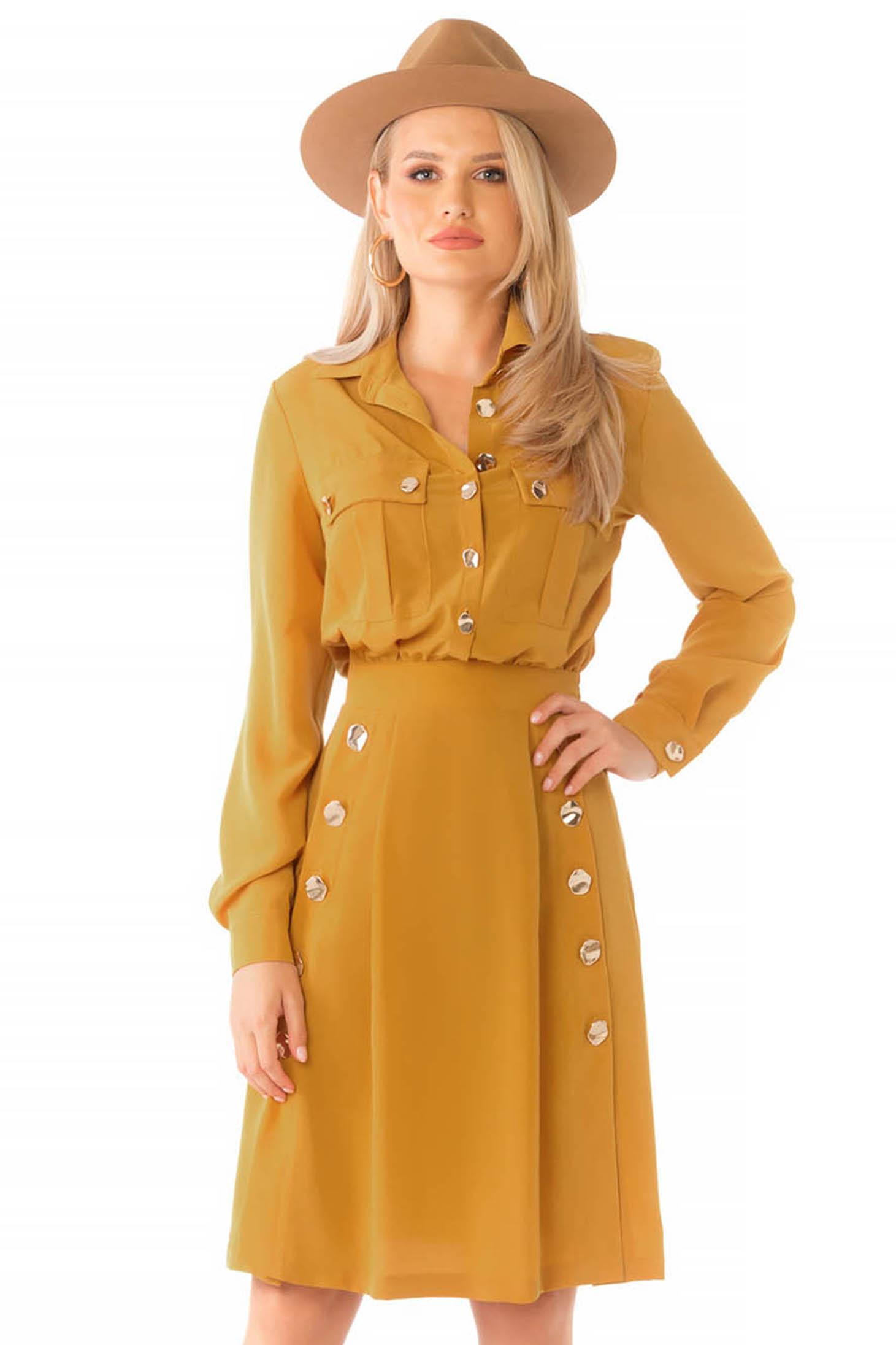 Mustársárga hétköznapi midi harang ruha hosszú ujjakkal