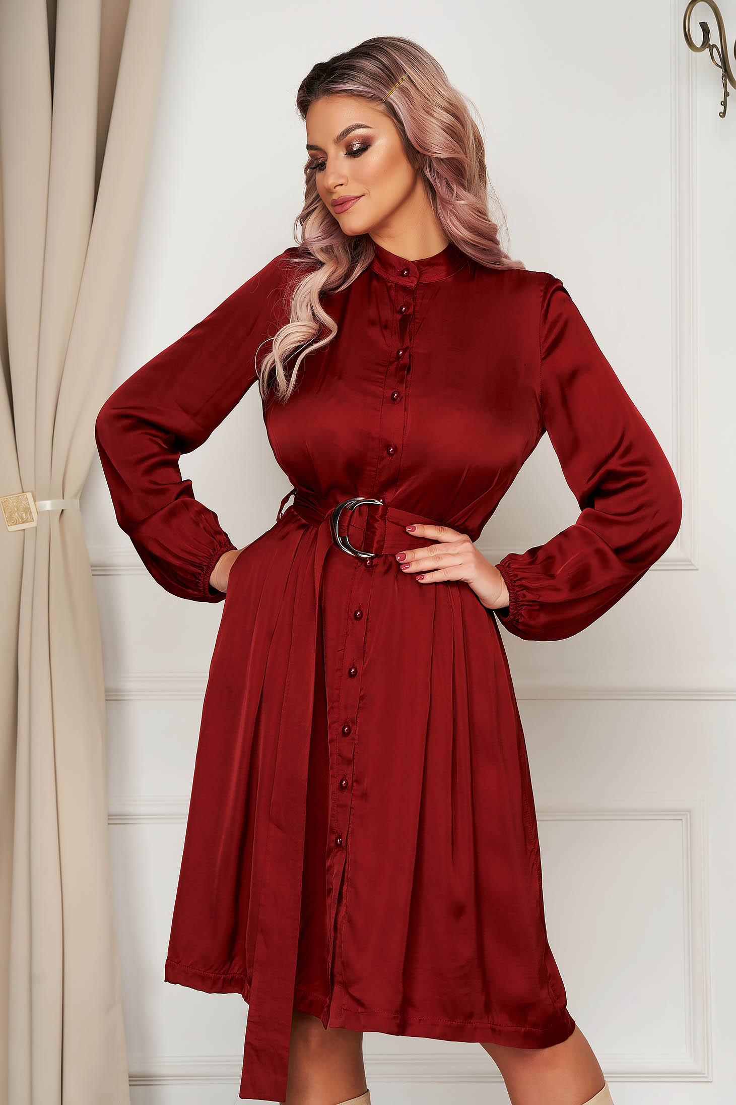 Office midi cloche bricky long sleeved dress