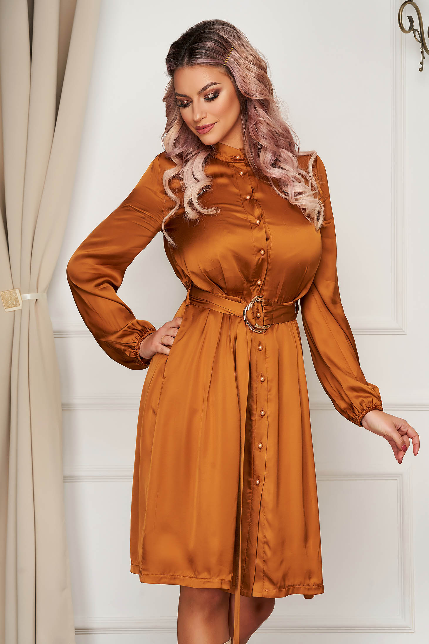 Office midi cloche mustard long sleeved dress