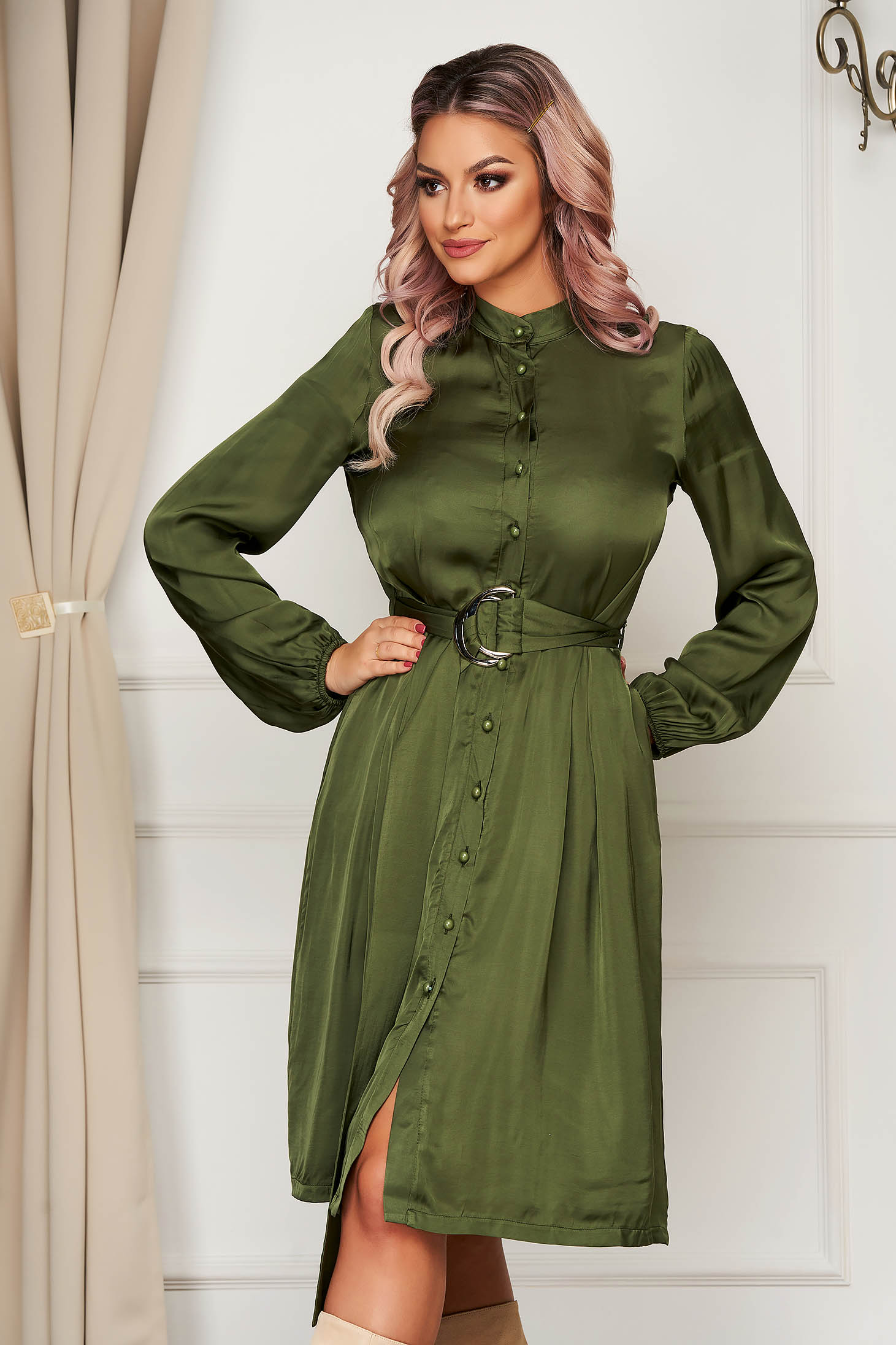 Office midi cloche khaki long sleeved dress