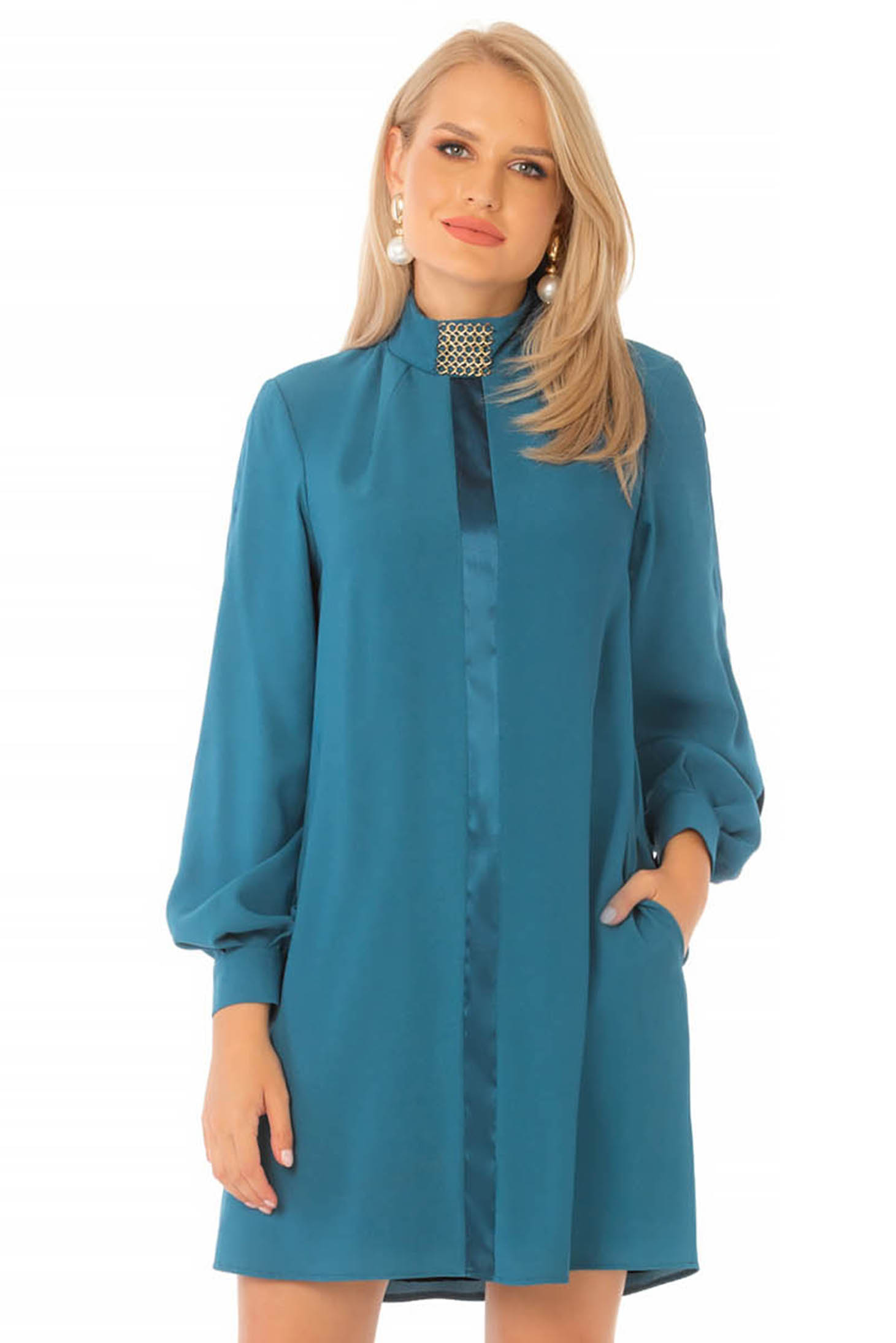 Short cut daily blue dress from veil fabric a-line turtleneck long sleeved