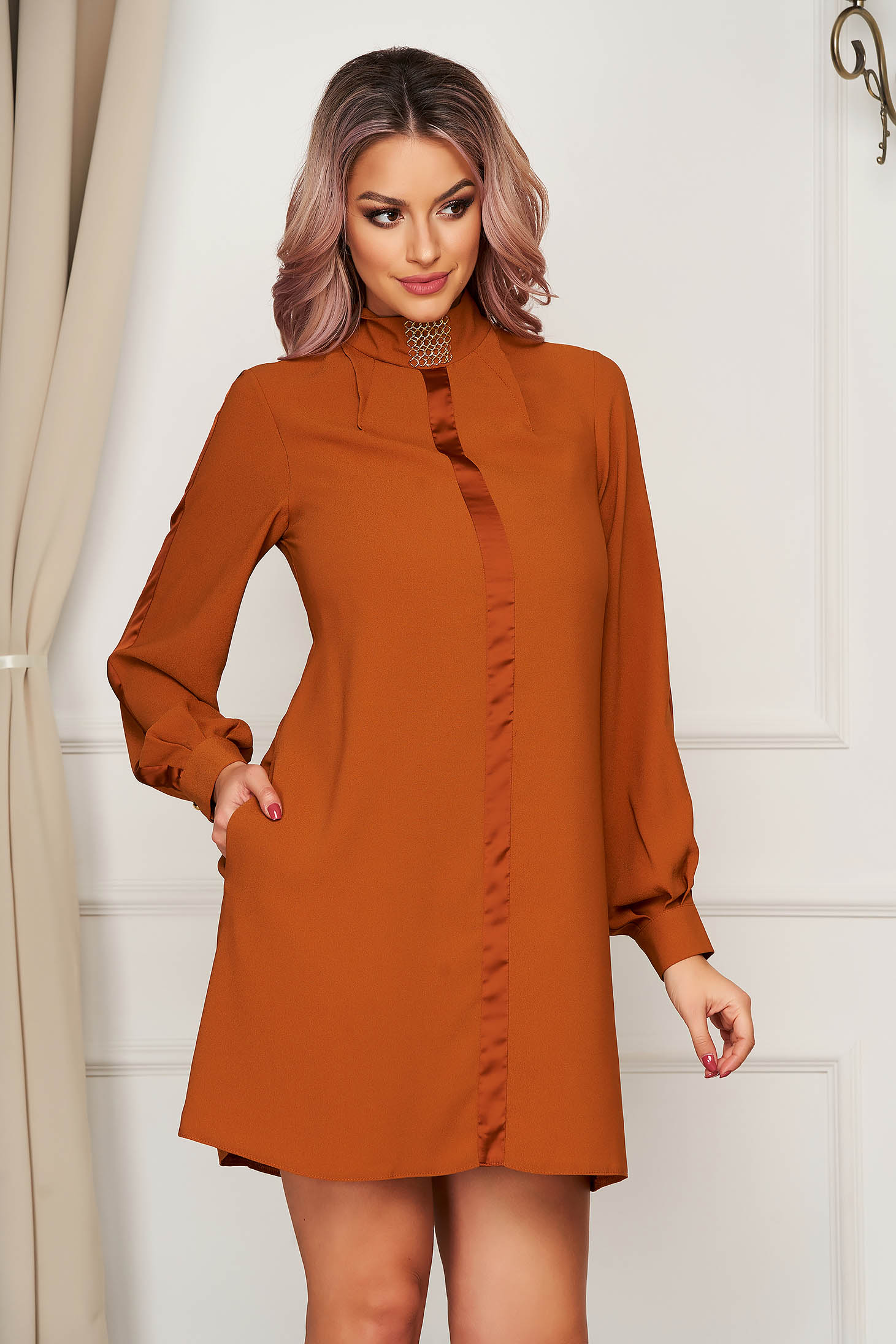 Short cut daily mustard dress from veil fabric a-line turtleneck long sleeved