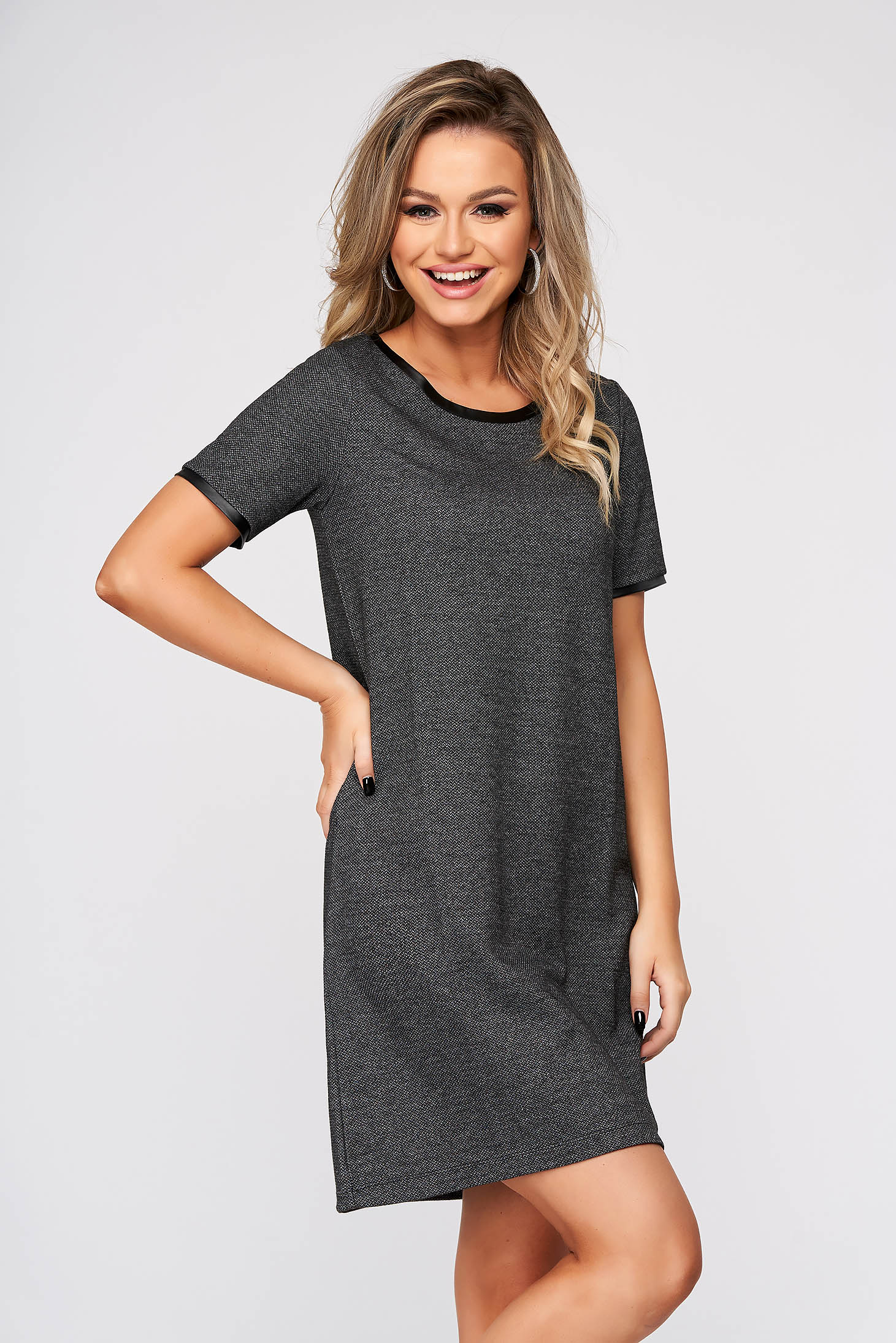 Black dress casual with easy cut short sleeve jersey