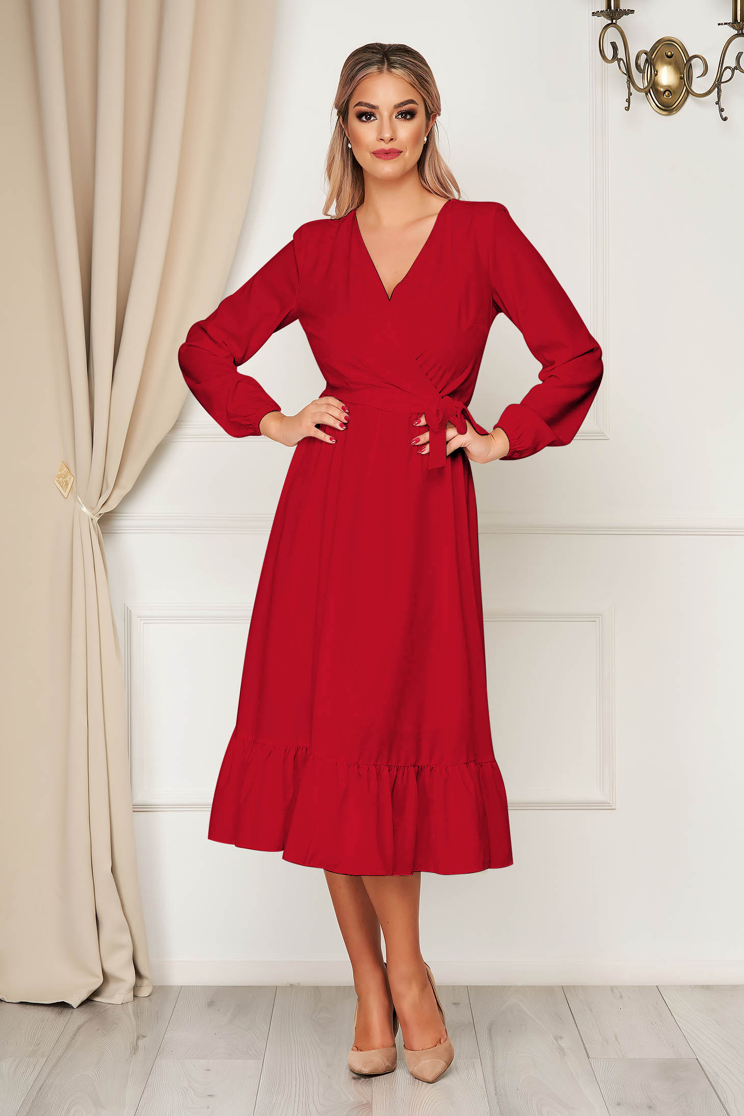 Rochie StarShinerS rosie eleganta midi decolteu petrecut cu elastic in talie accesorizata cu cordon