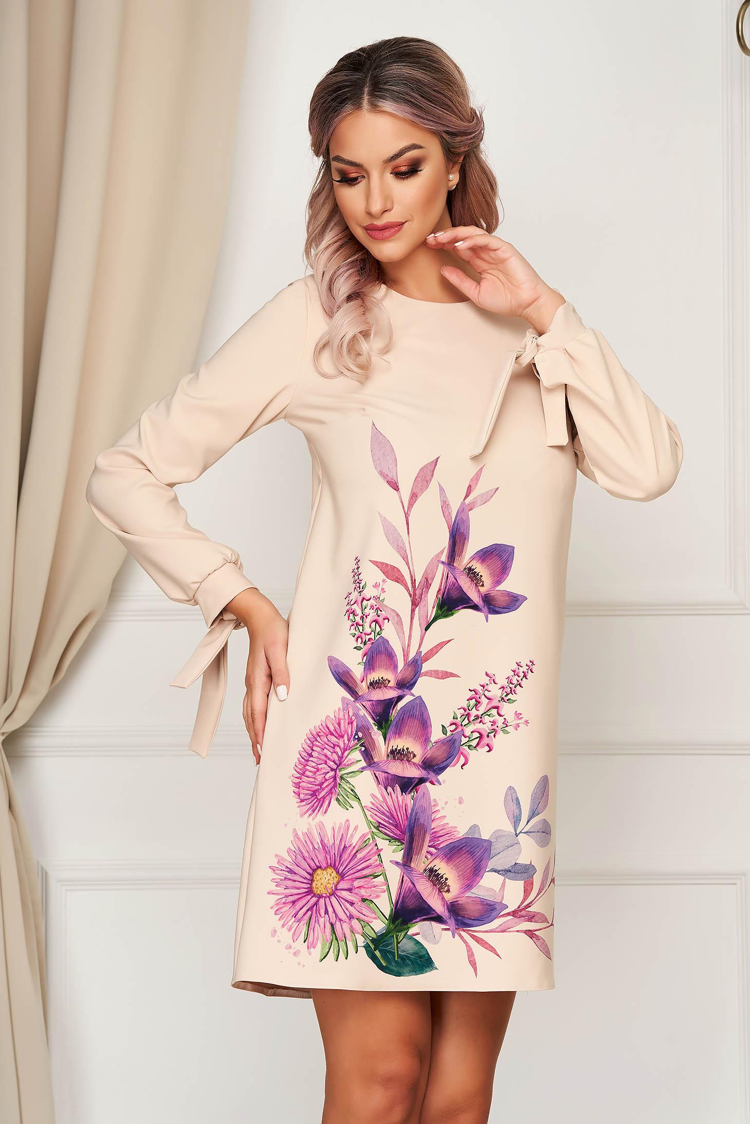 Elegant short cut cream dress StarShinerS a-line cloth with floral print