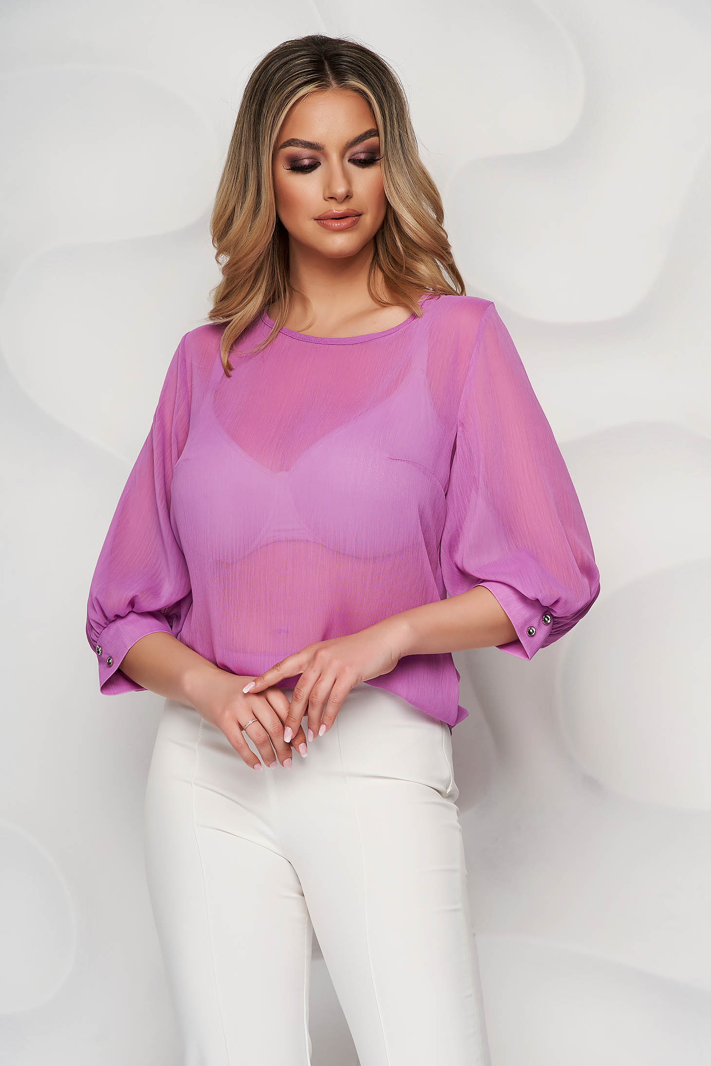 Purple elegant StarShinerS women`s blouse from veil fabric flared with 3/4 sleeves