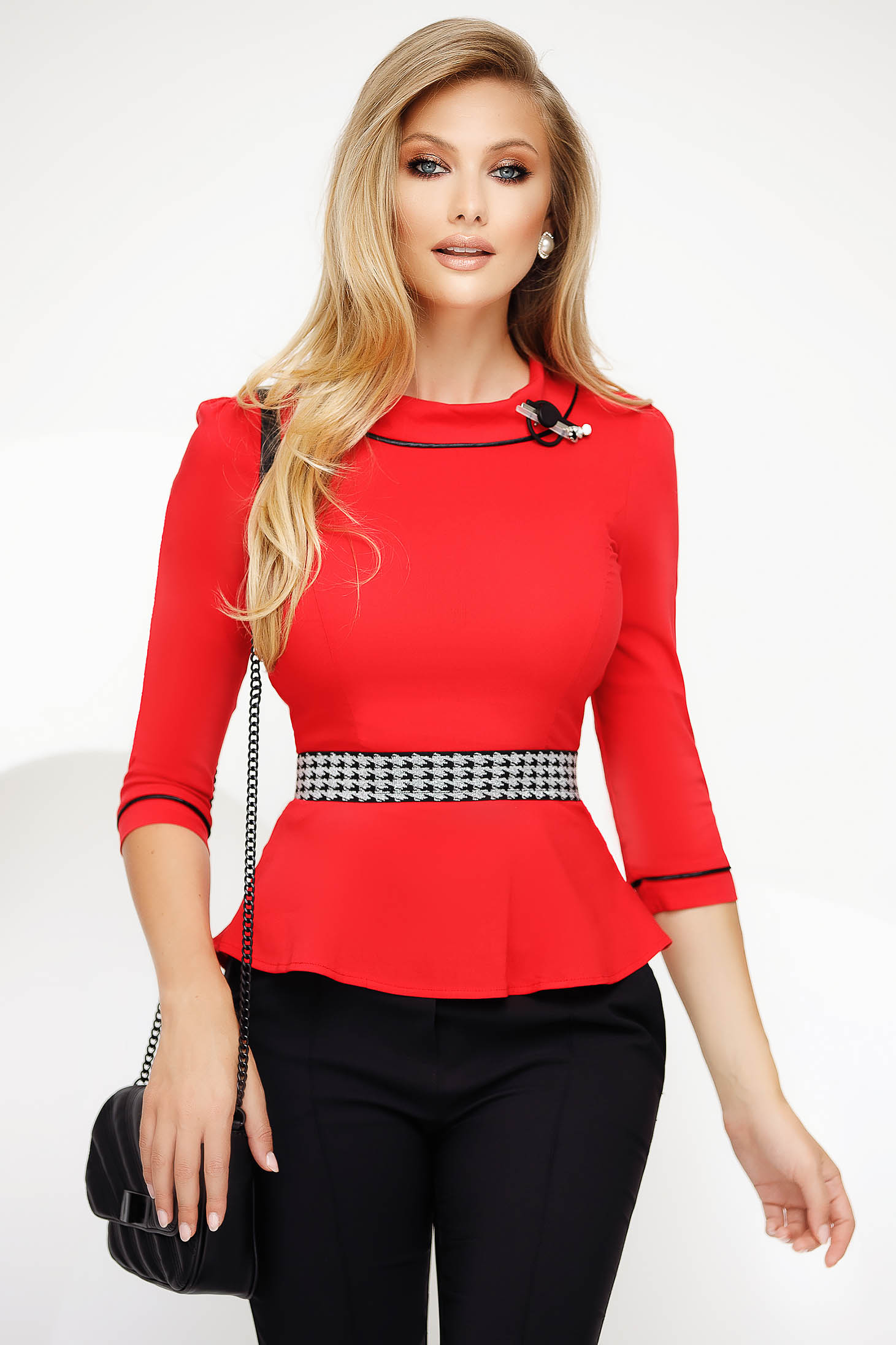 Red women`s shirt office slightly elastic cotton with tented cut with frilled waist