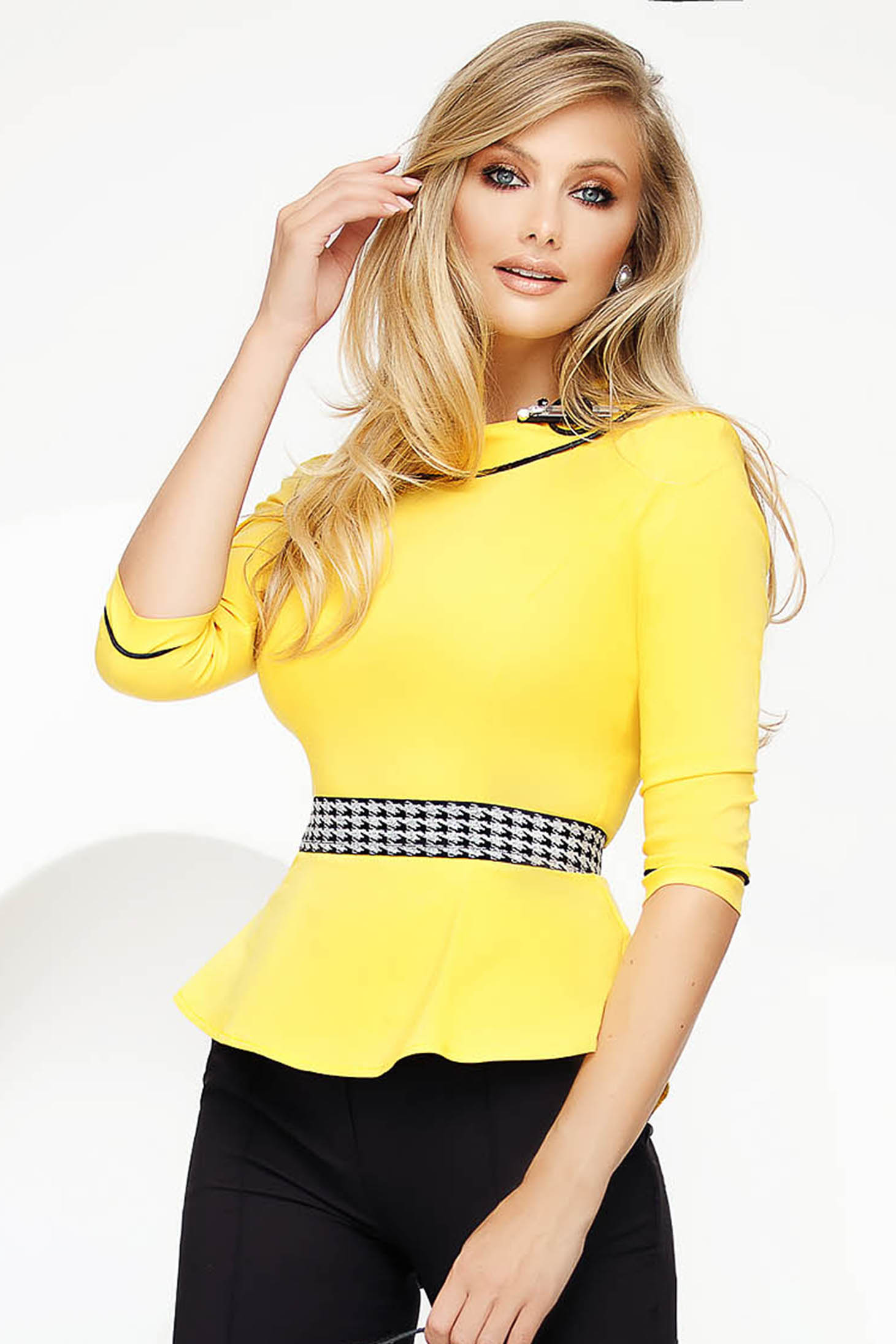 Yellow women`s shirt office slightly elastic cotton with tented cut with frilled waist