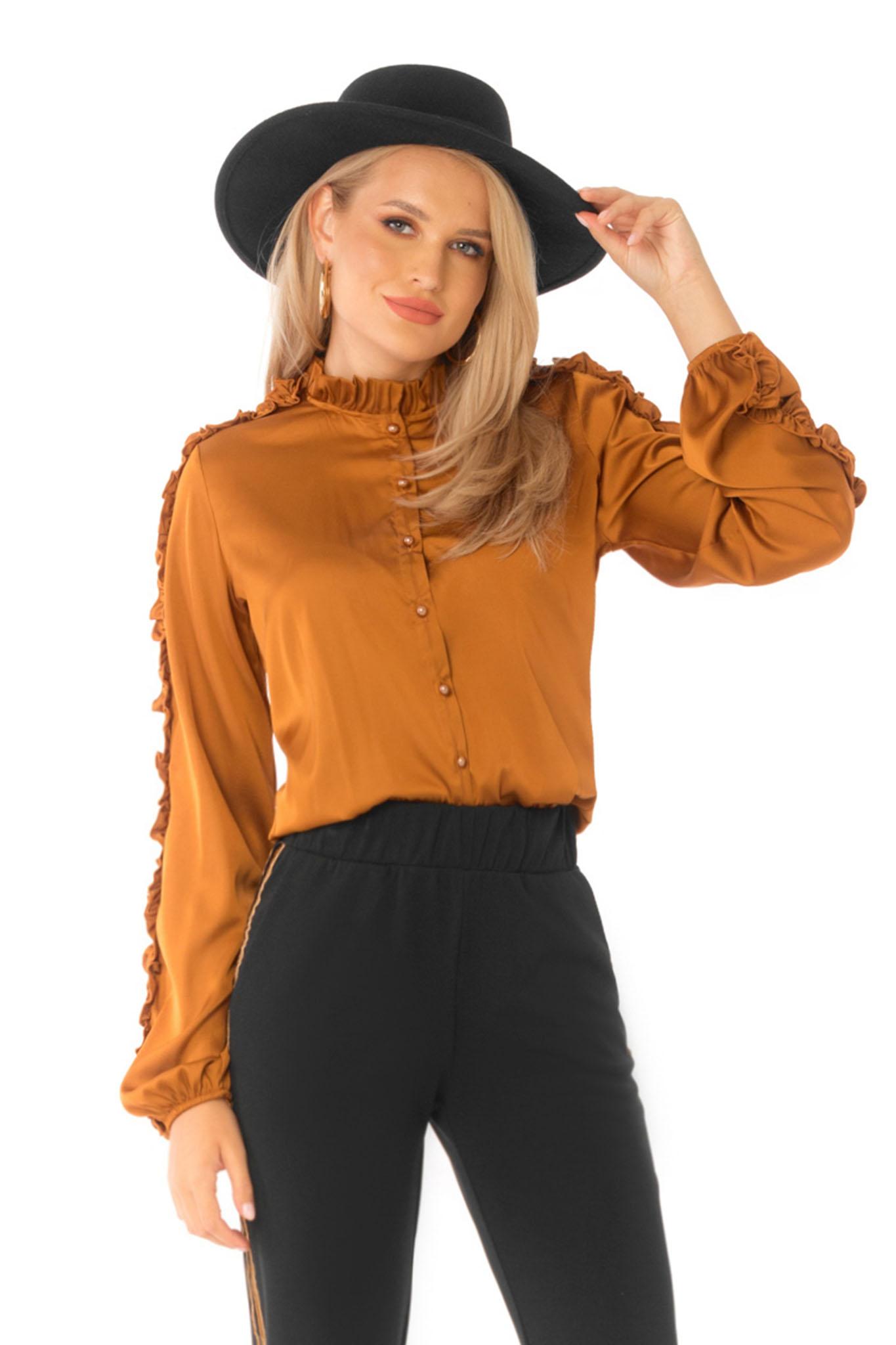 Téglaszínű elegáns bő ujjú bő szabású női ing szatén anyagból