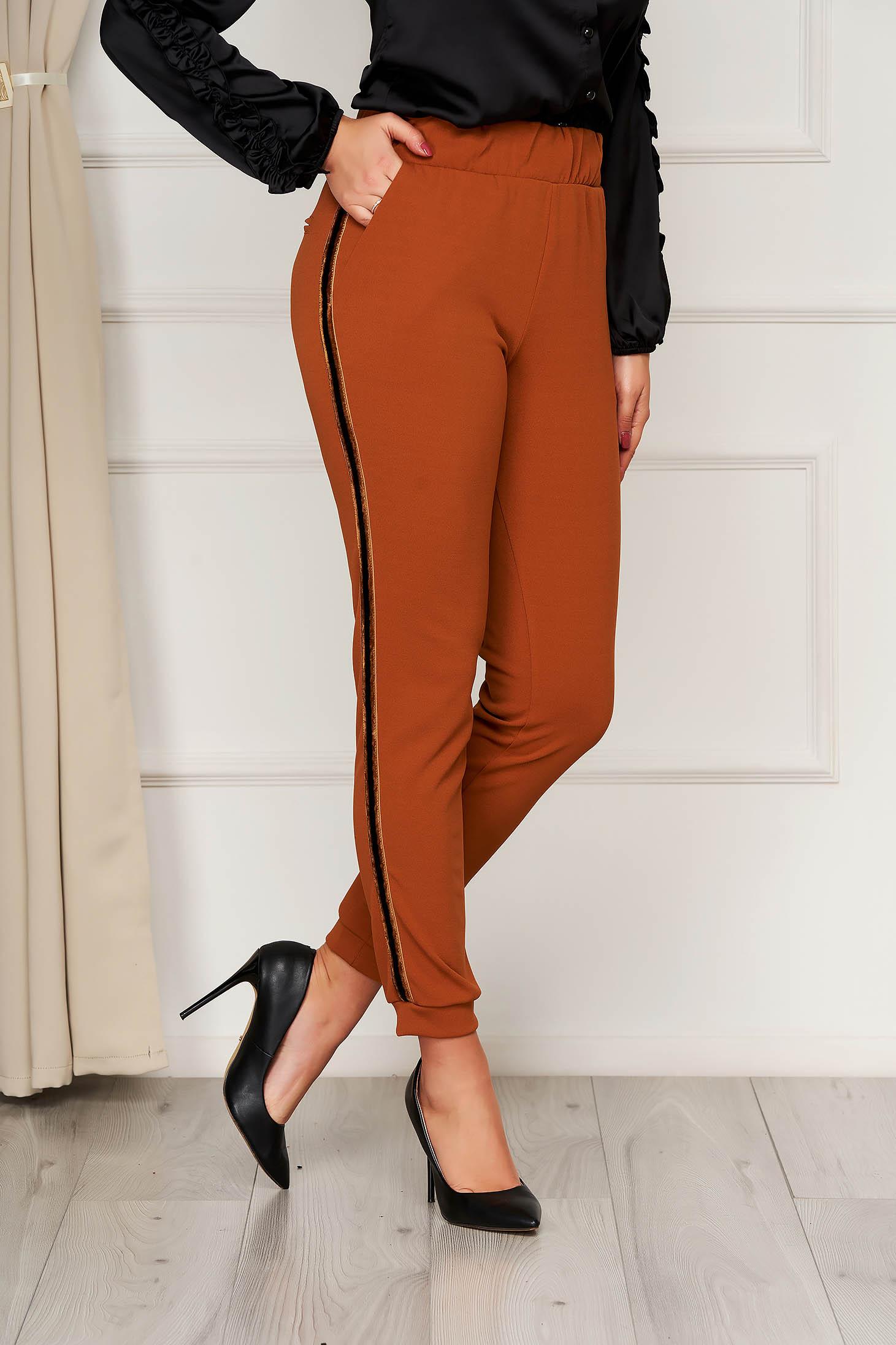 Pantaloni PrettyGirl caramizii office conici cu elastic in talie