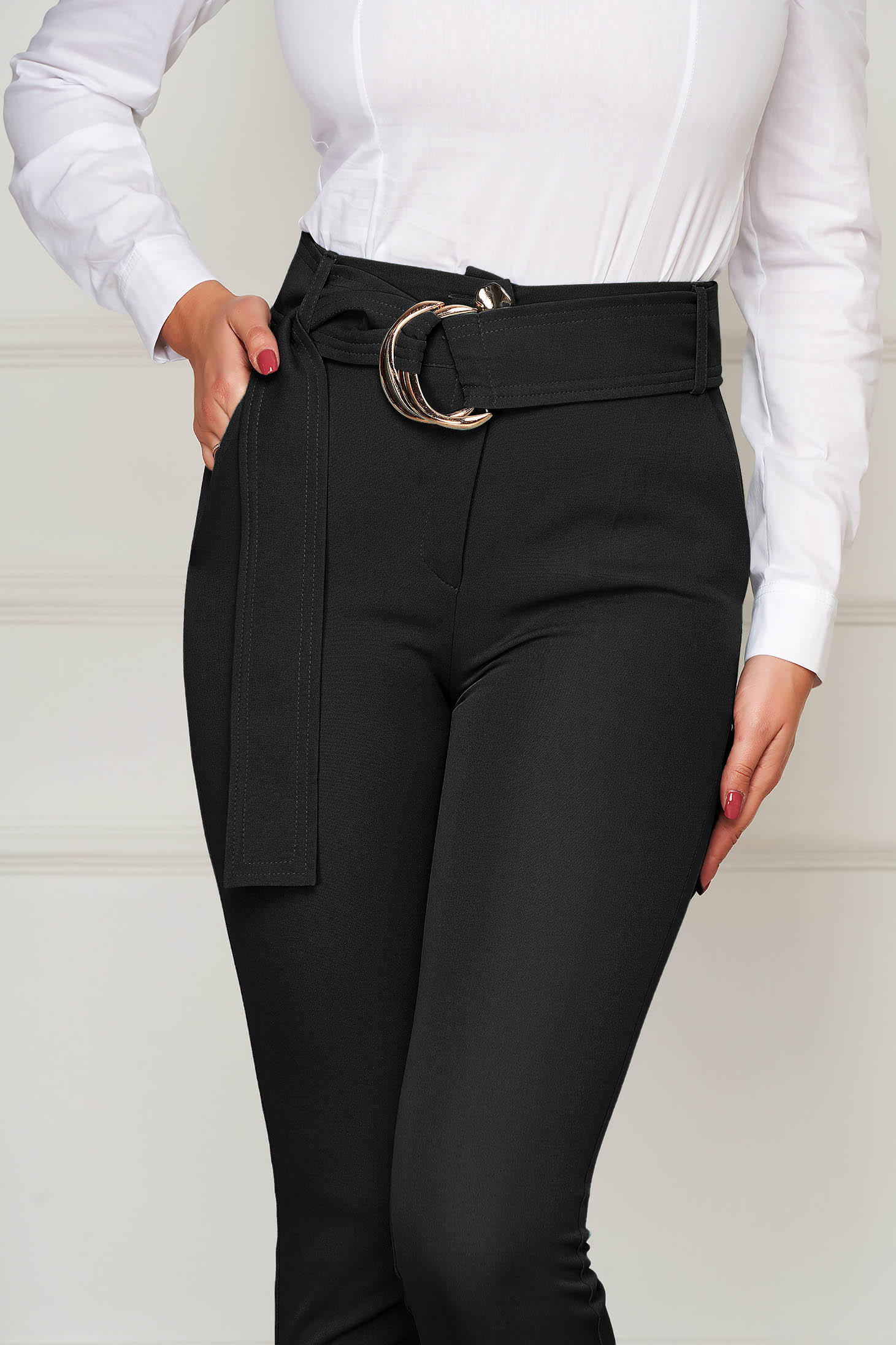 Pantaloni PrettyGirl negri eleganti conici cu talie inalta din stofa usor elastica