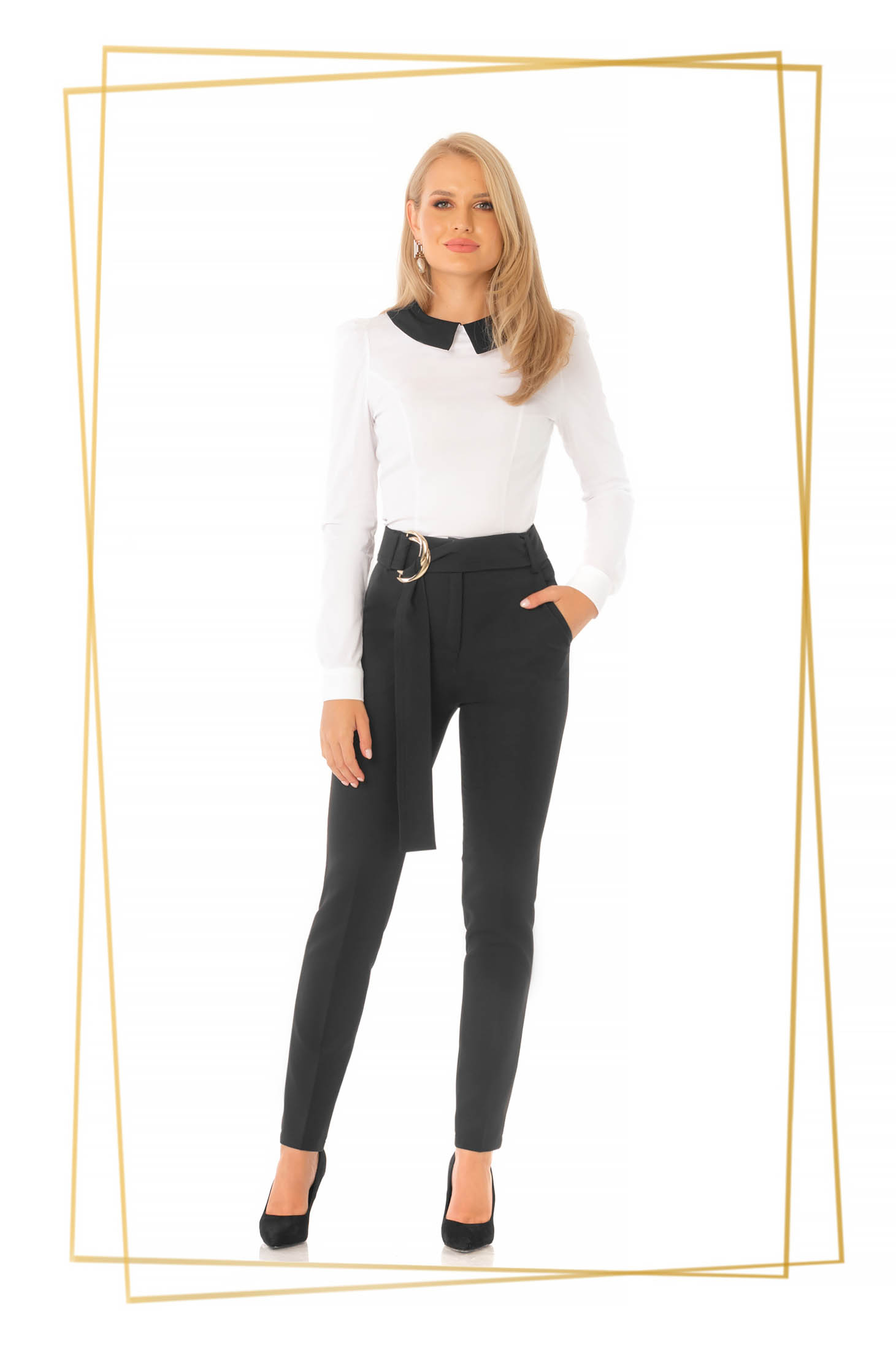 Trousers black elegant conical high waisted slightly elastic fabric