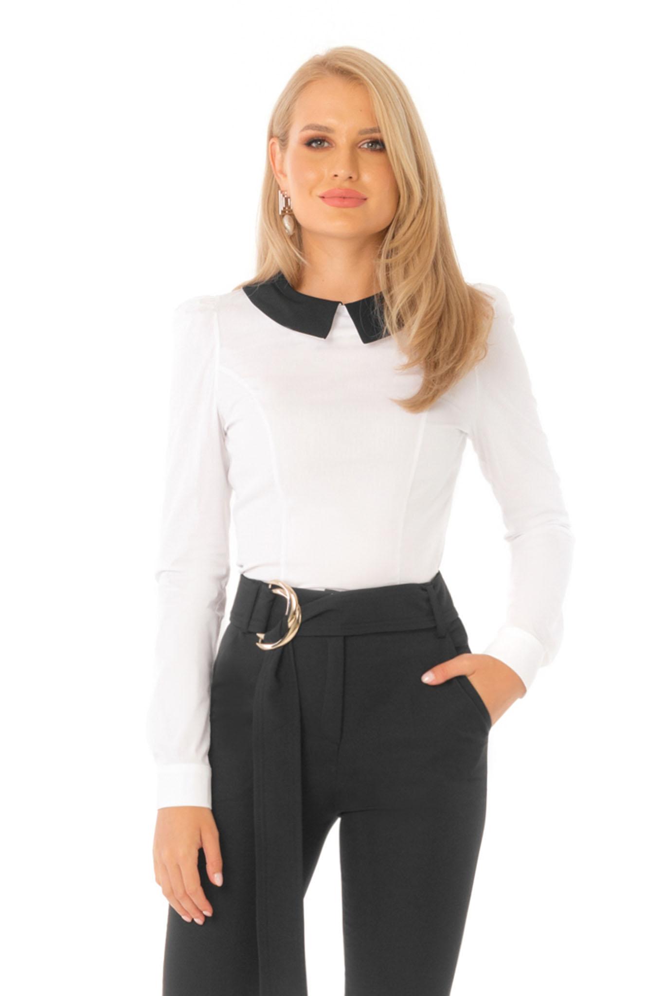 Fekete irodai szűk szabású női ing hosszú ujjakkal enyhén elasztikus pamut