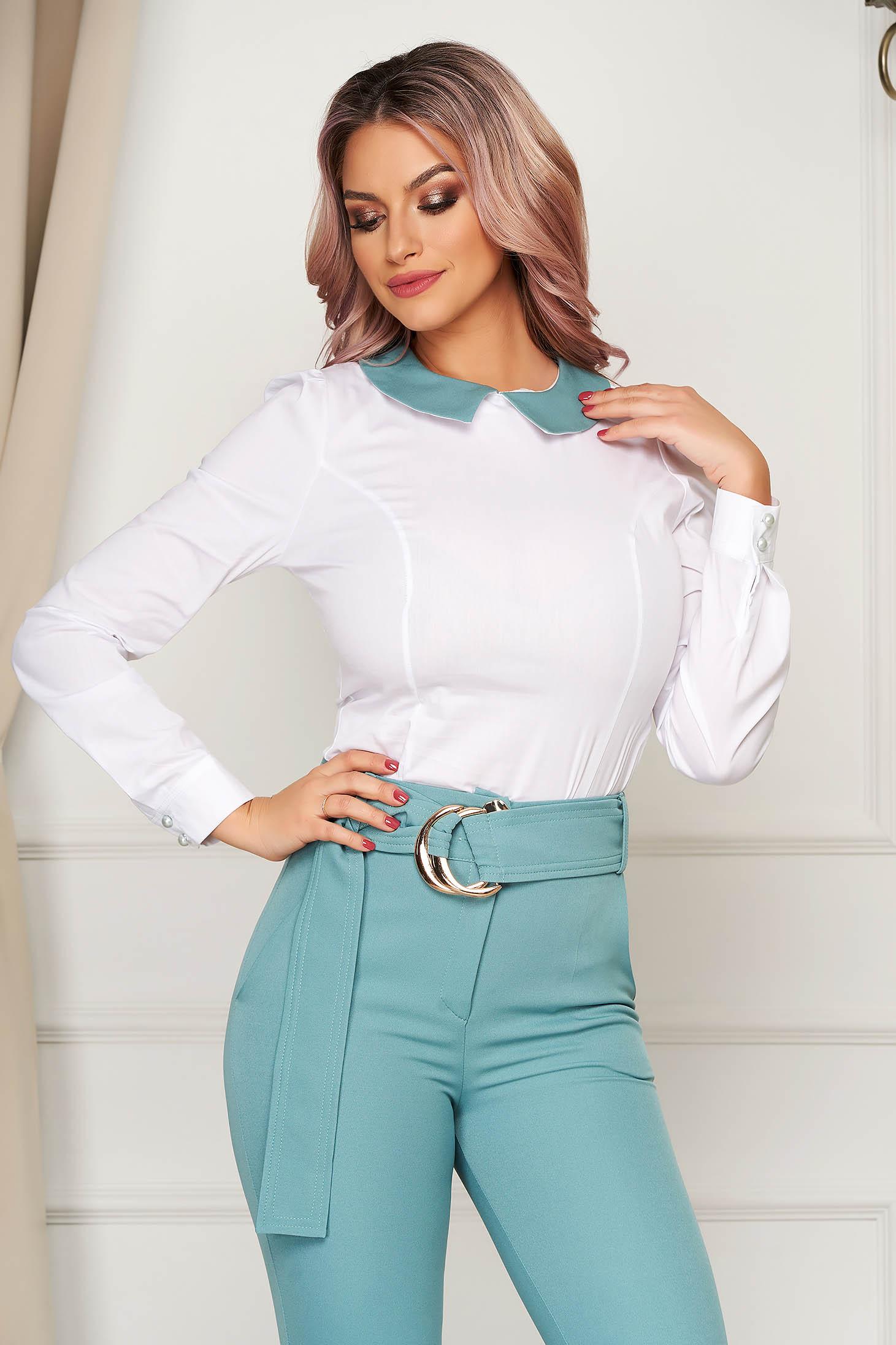 Women`s shirt mint office tented long sleeve slightly elastic cotton