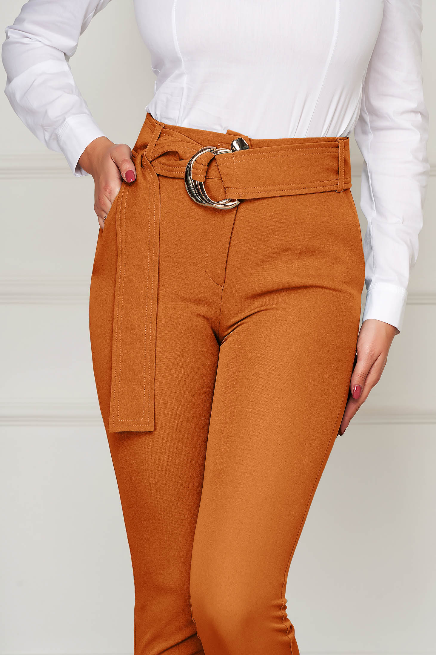 Trousers bricky elegant conical high waisted slightly elastic fabric