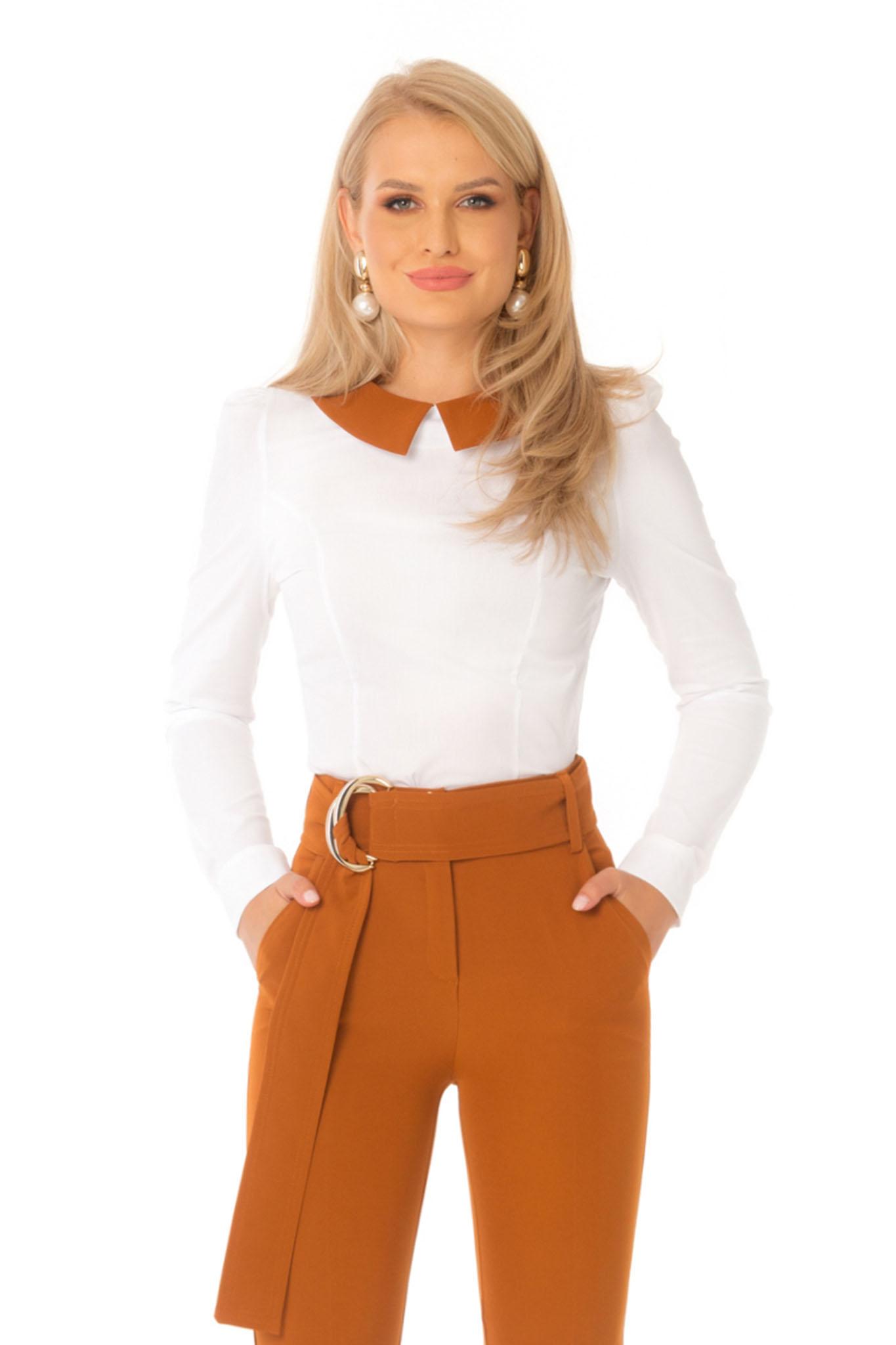 Camasa dama PrettyGirl caramizie office mulata cu maneca lunga din bumbac usor elastic