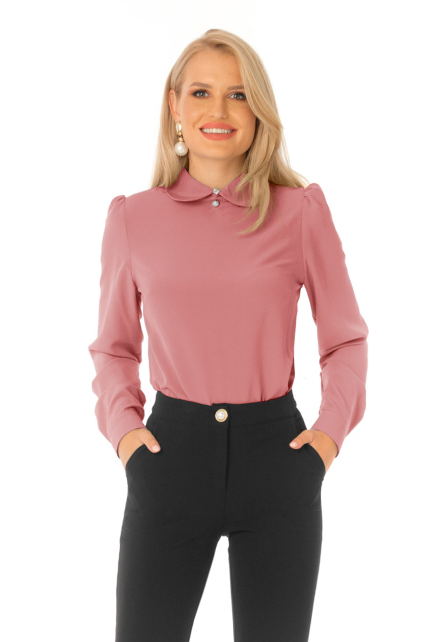 Office lightpink women`s blouse thin fabric flared with large collar