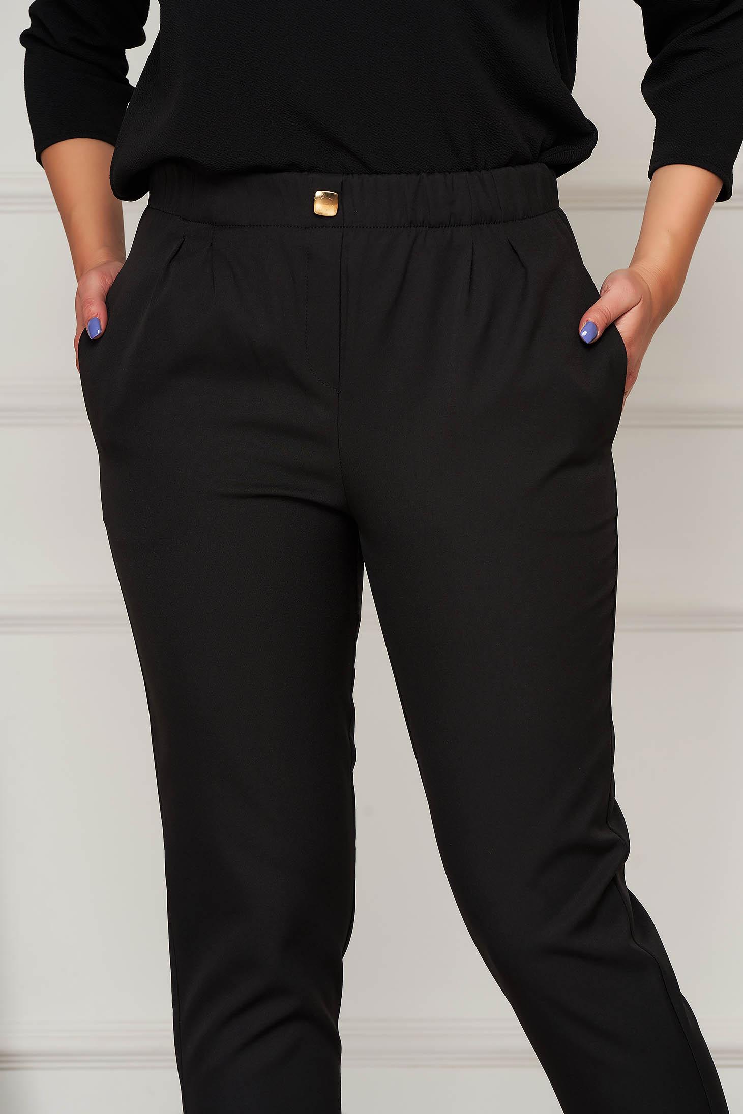 Pantaloni PrettyGirl negri office conici cu talie medie din stofa usor elastica