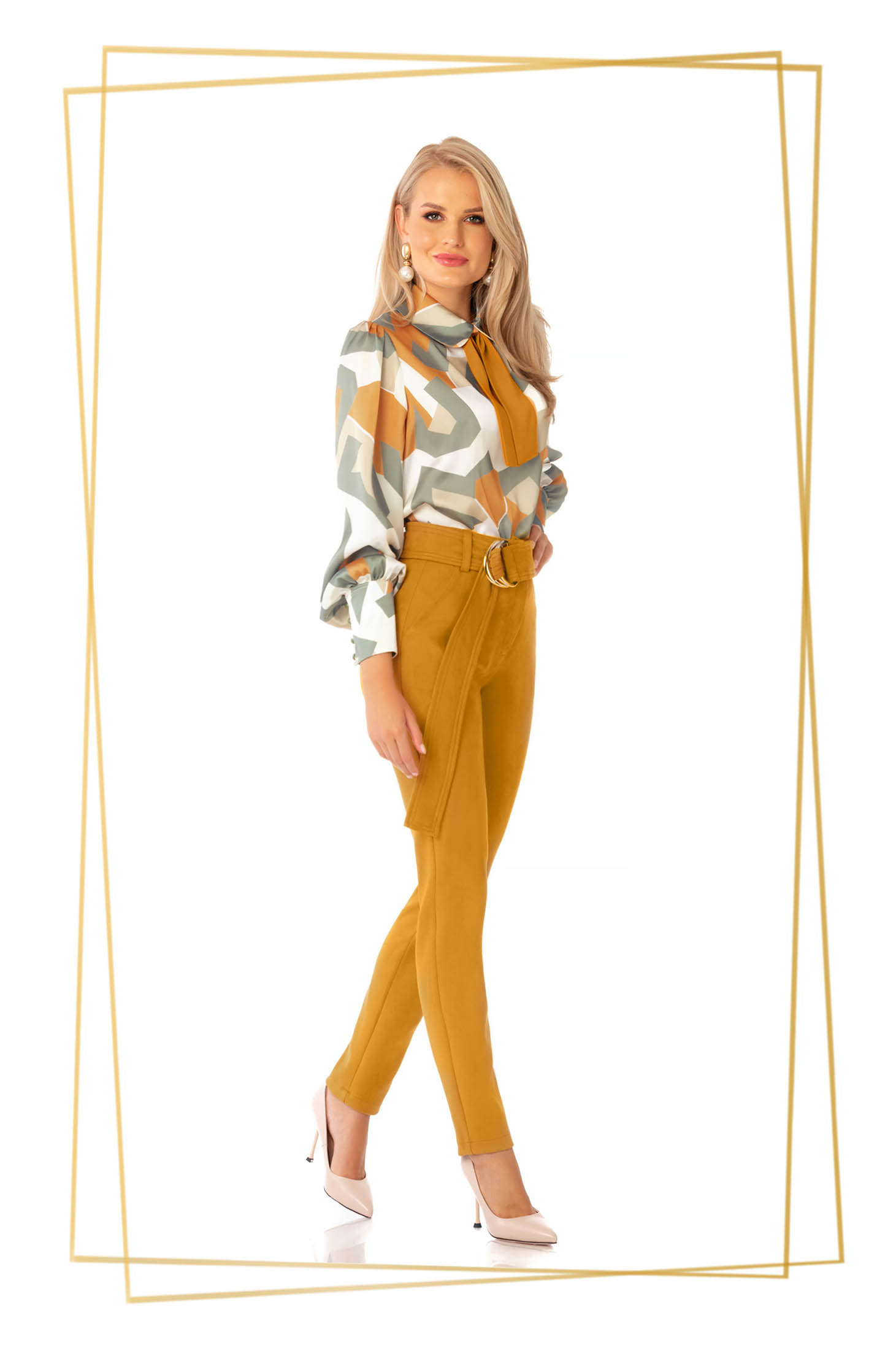 Pantaloni PrettyGirl din piele intoarsa mustarii eleganti conici cu talie inalta accesorizati cu cordon