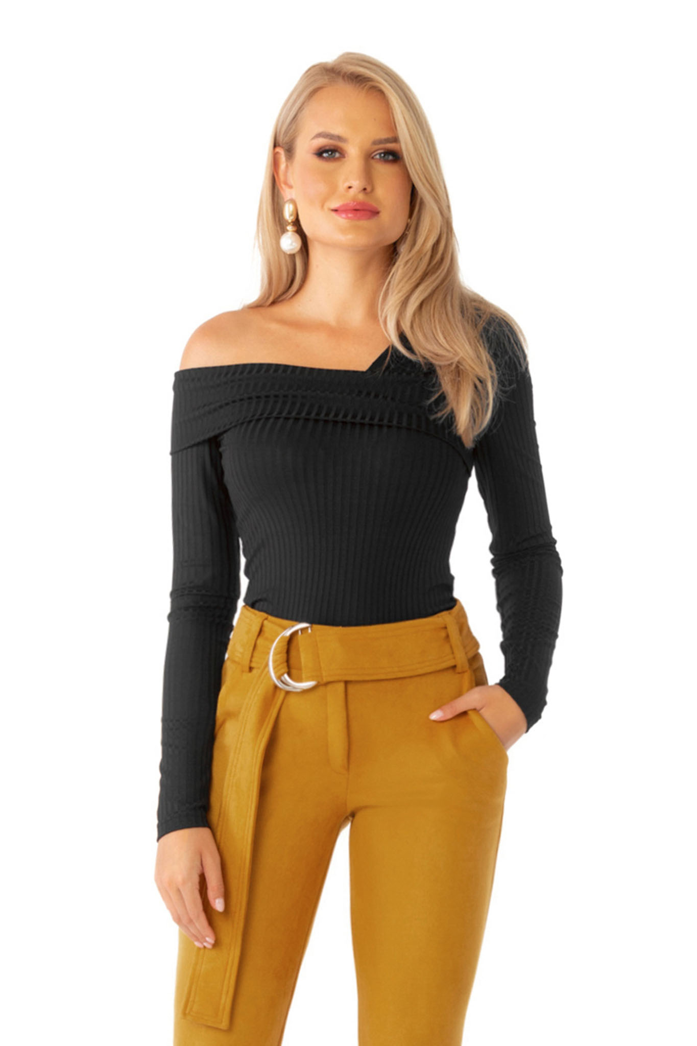 Women`s blouse black casual with tented cut naked shoulders