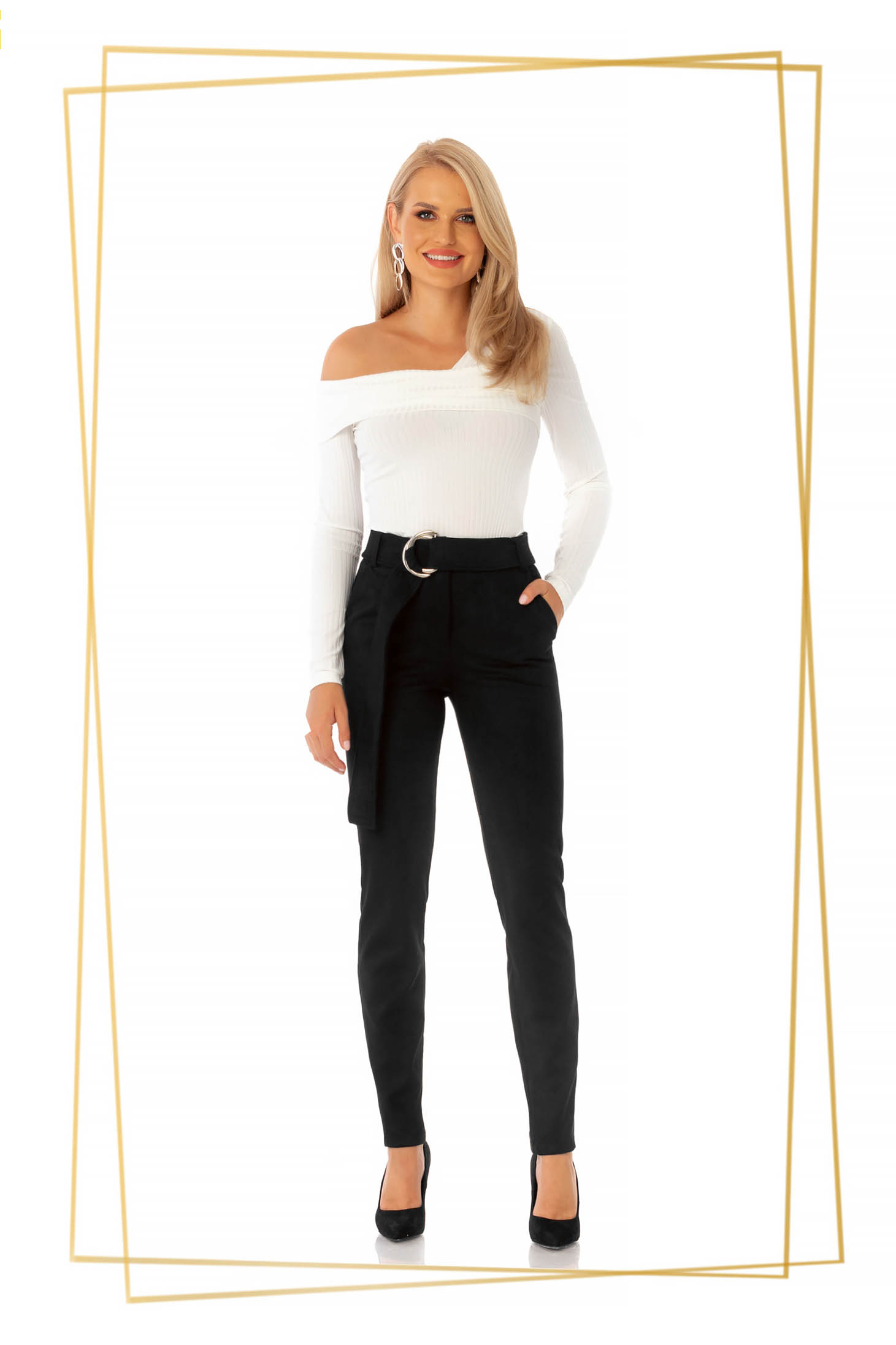 Elegant black conical trousers high waisted slightly elastic fabric accessorized with tied waistband