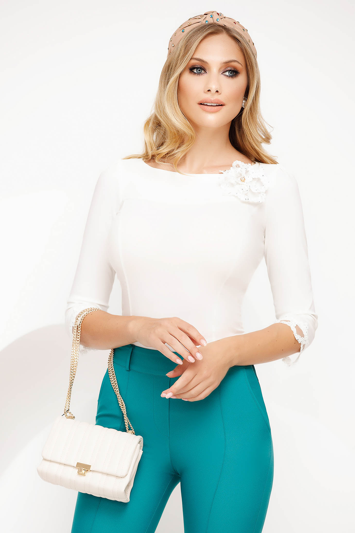 White women`s shirt office slightly elastic cotton with tented cut with lace details