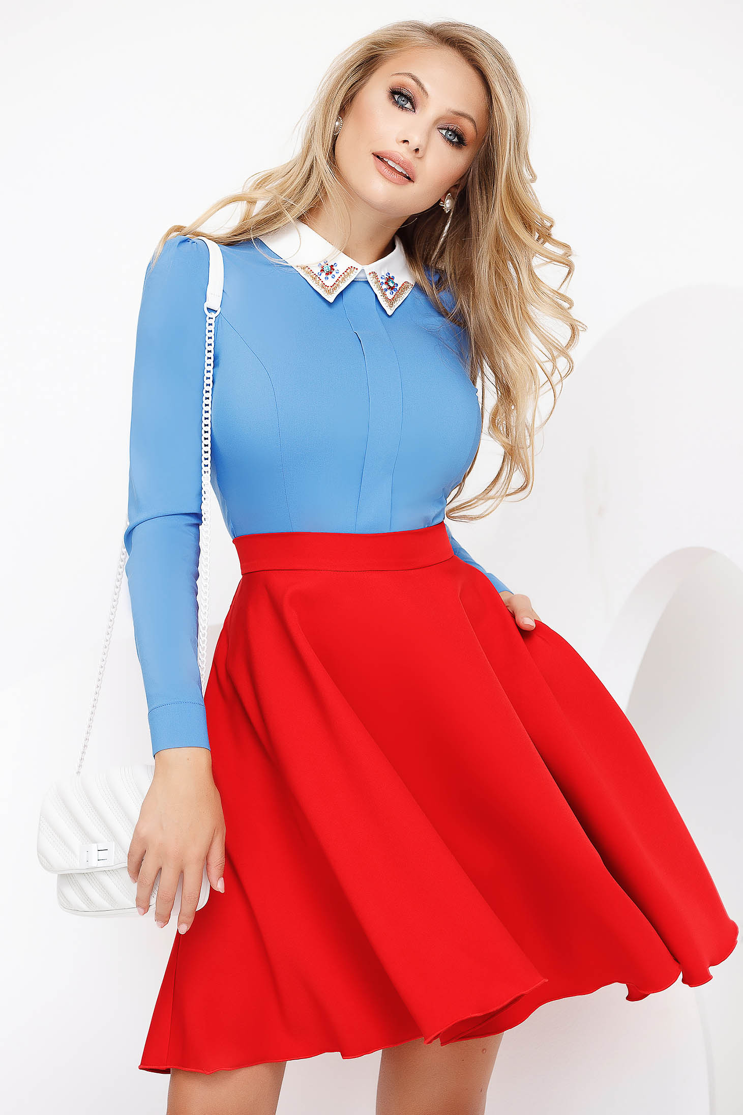 Blue women`s shirt office with tented cut slightly elastic cotton with crystal embellished details