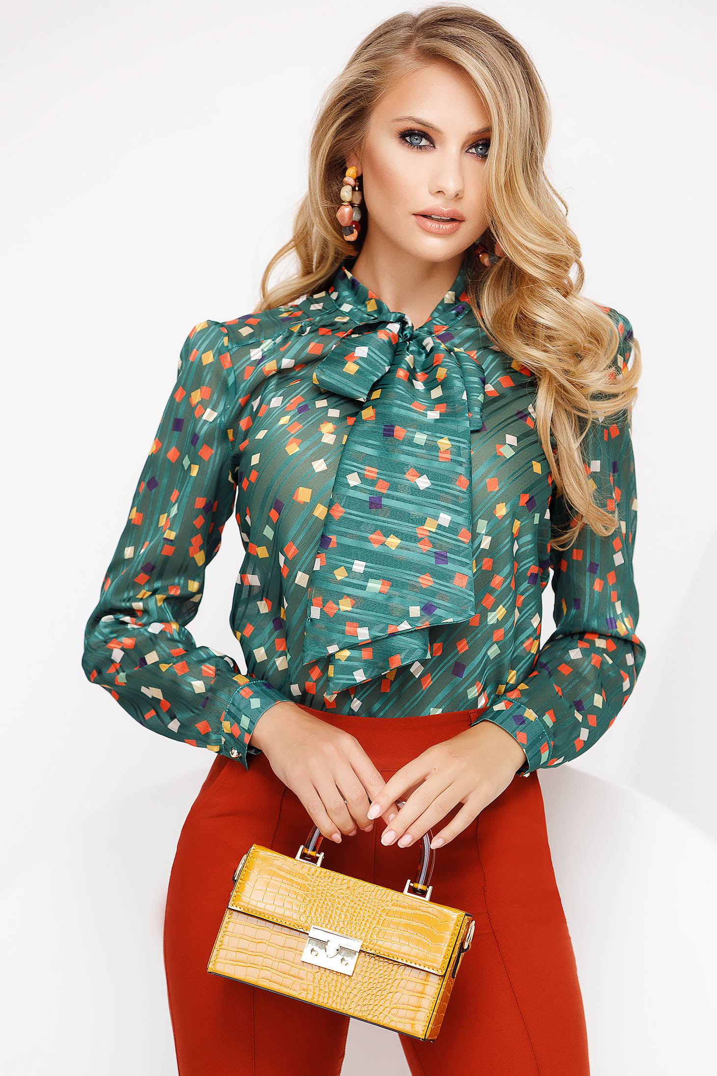 Darkgreen women`s blouse elegant flared voile fabric