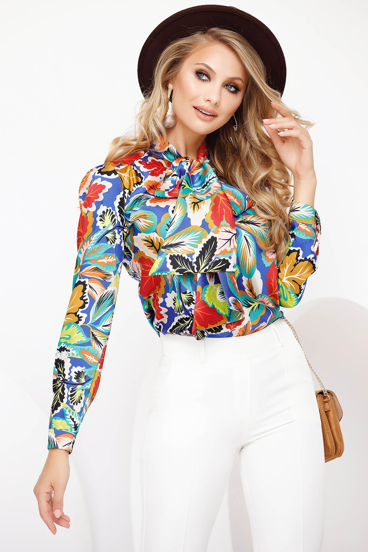 Blue women`s blouse elegant flared voile fabric