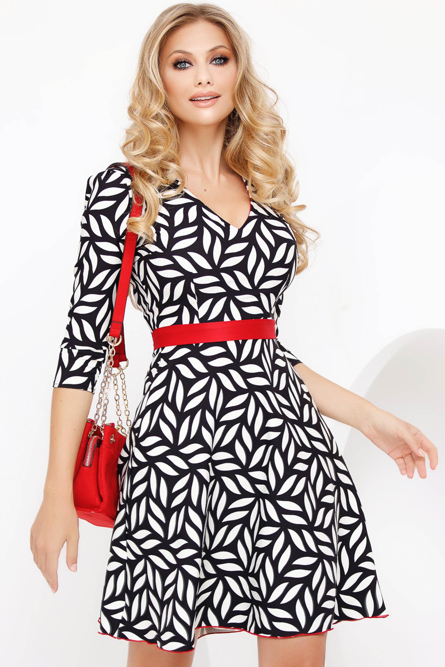 Black elegant midi flaring cut dress with v-neckline slightly elastic fabric