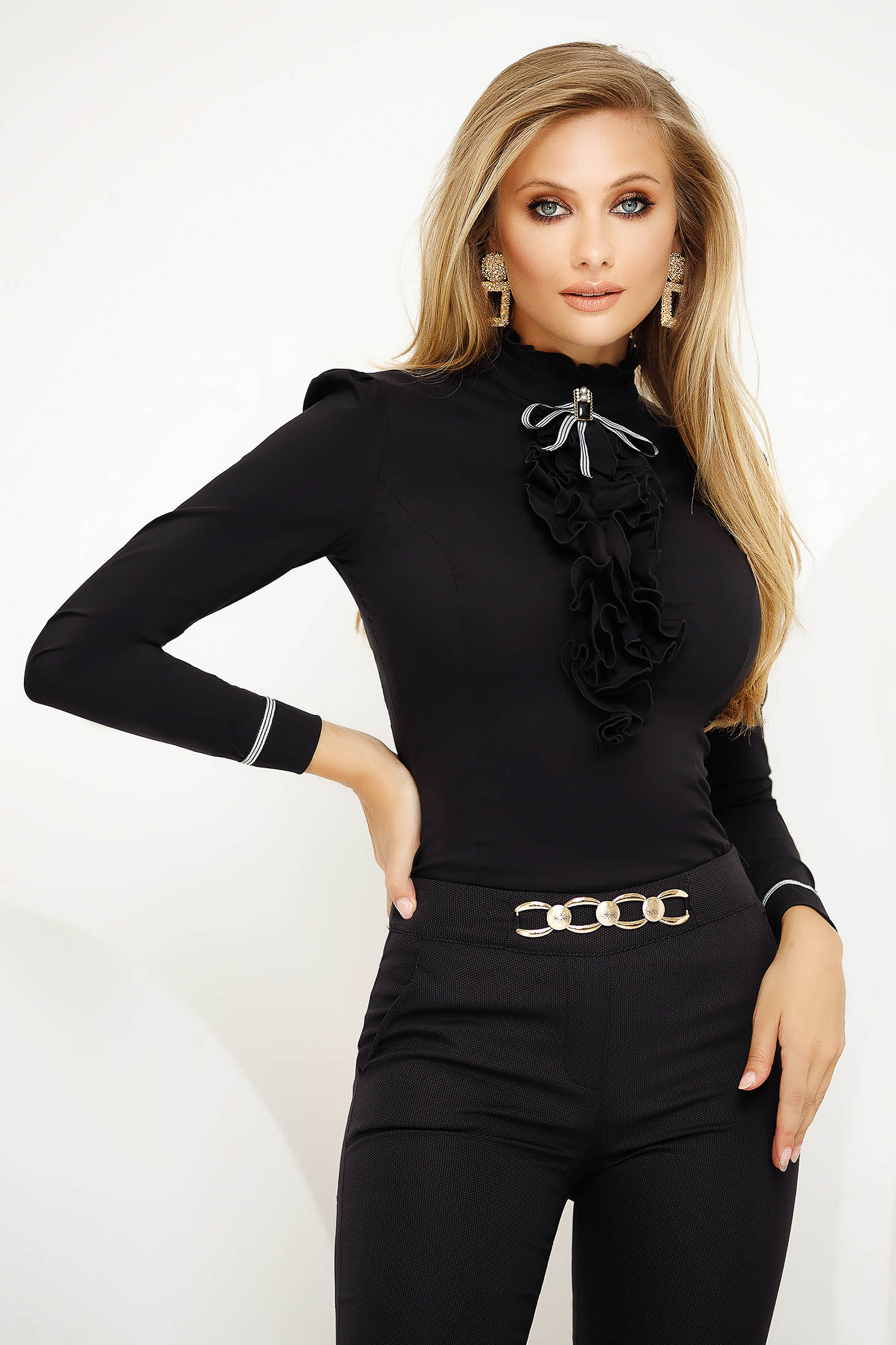Black women`s shirt office with tented cut slightly elastic cotton accessorized with breastpin