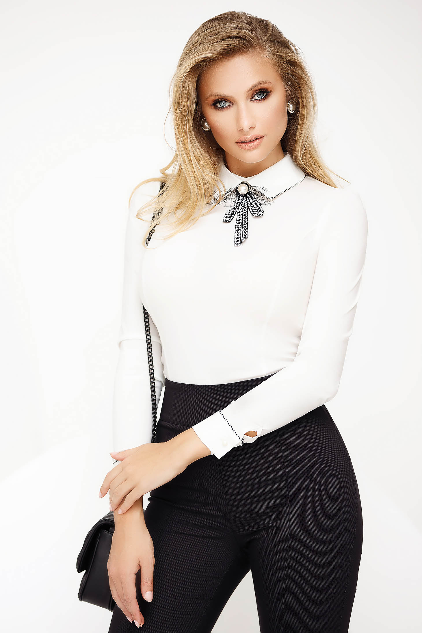 White women`s shirt office with tented cut slightly elastic cotton accessorized with breastpin