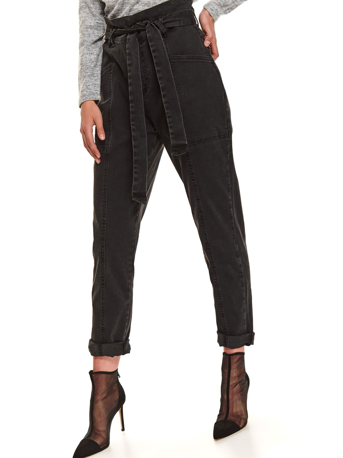 Darkgrey trousers casual with pockets denim high waisted