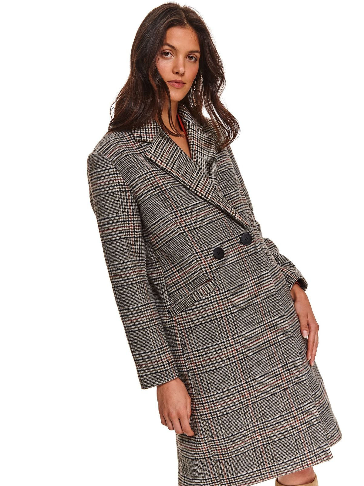 Black coat casual long tented cloth with chequers