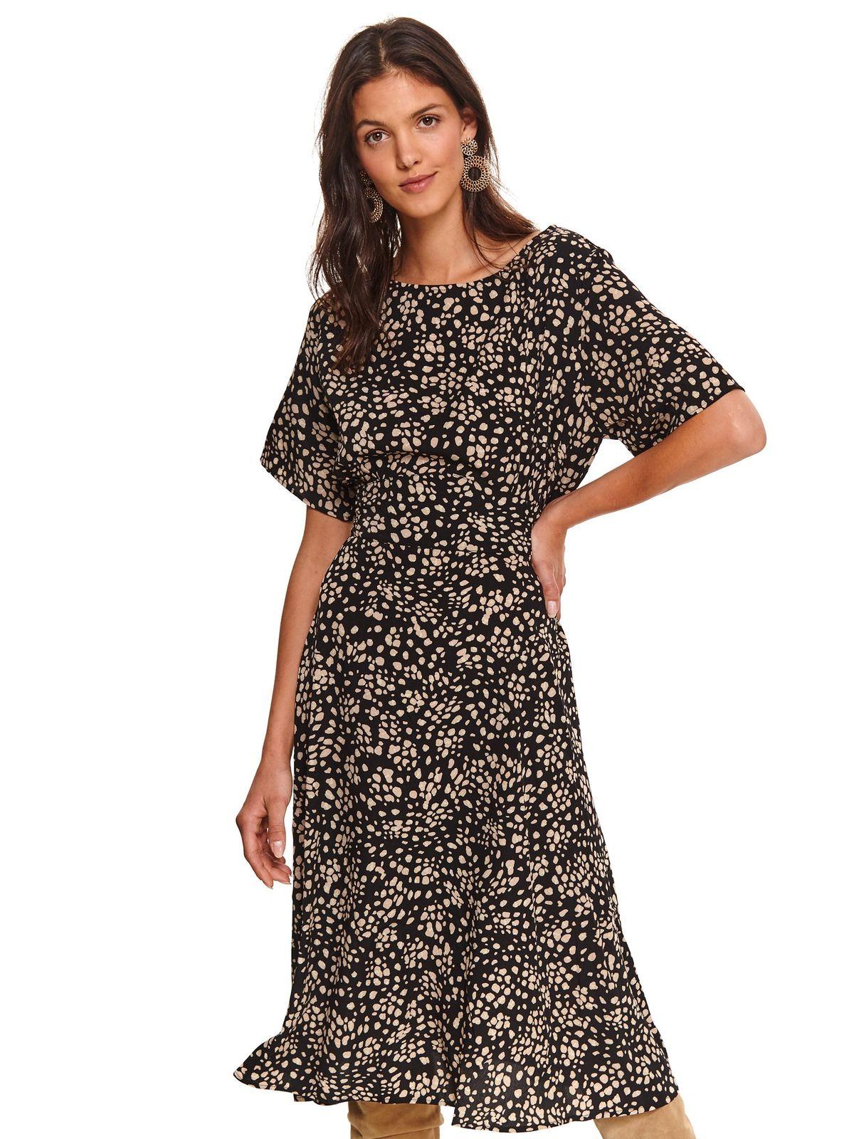 Black dress midi flaring cut thin fabric