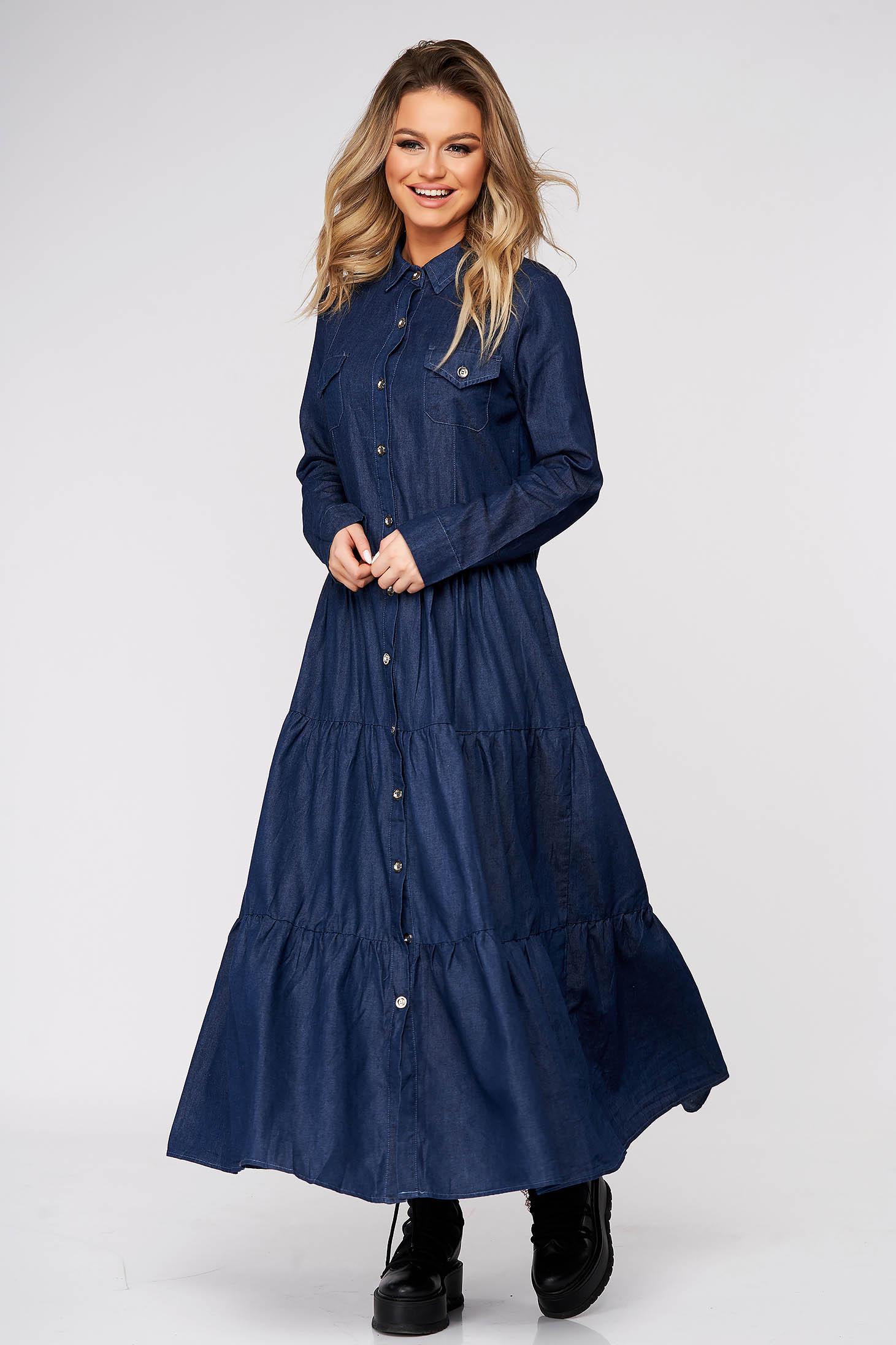 Darkblue dress daily flared nonelastic cotton