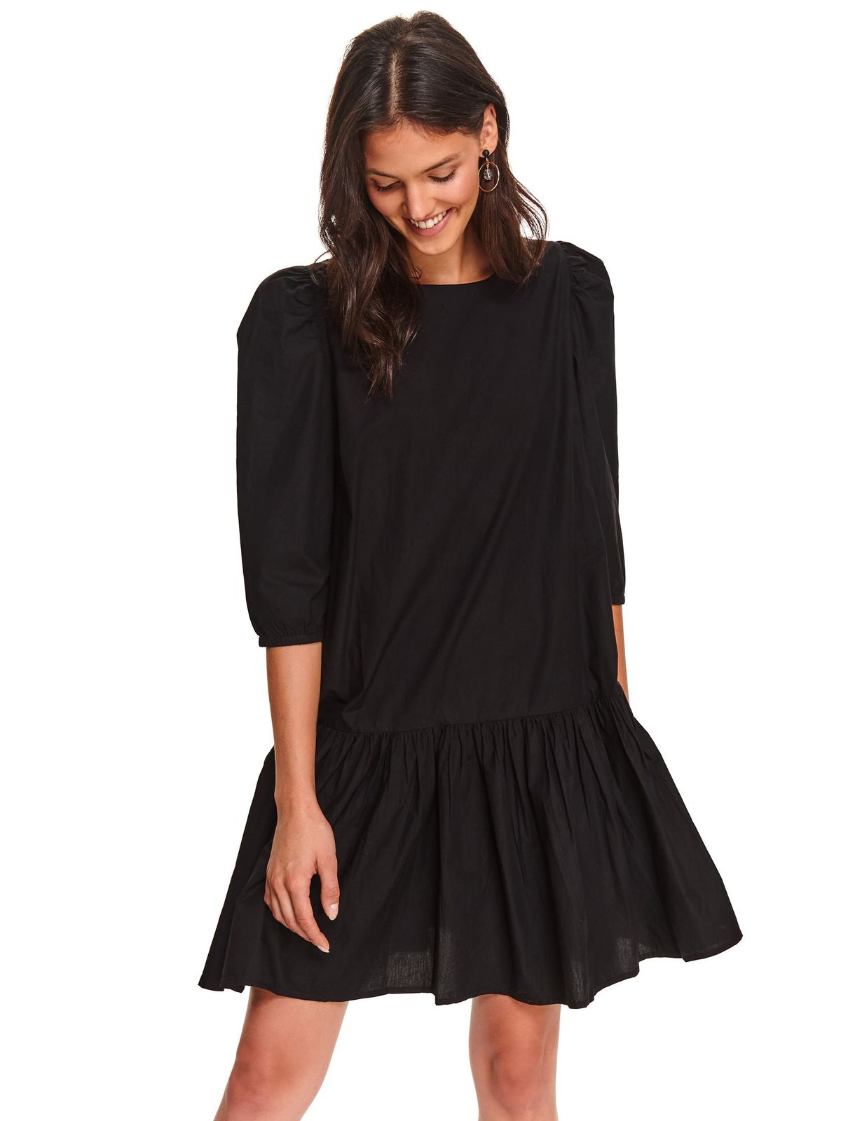 Black dress casual with easy cut short cut
