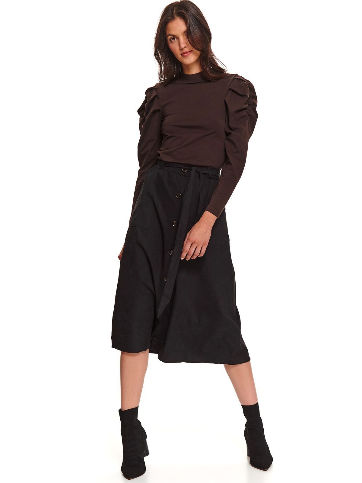 Black skirt casual midi cloche with pockets