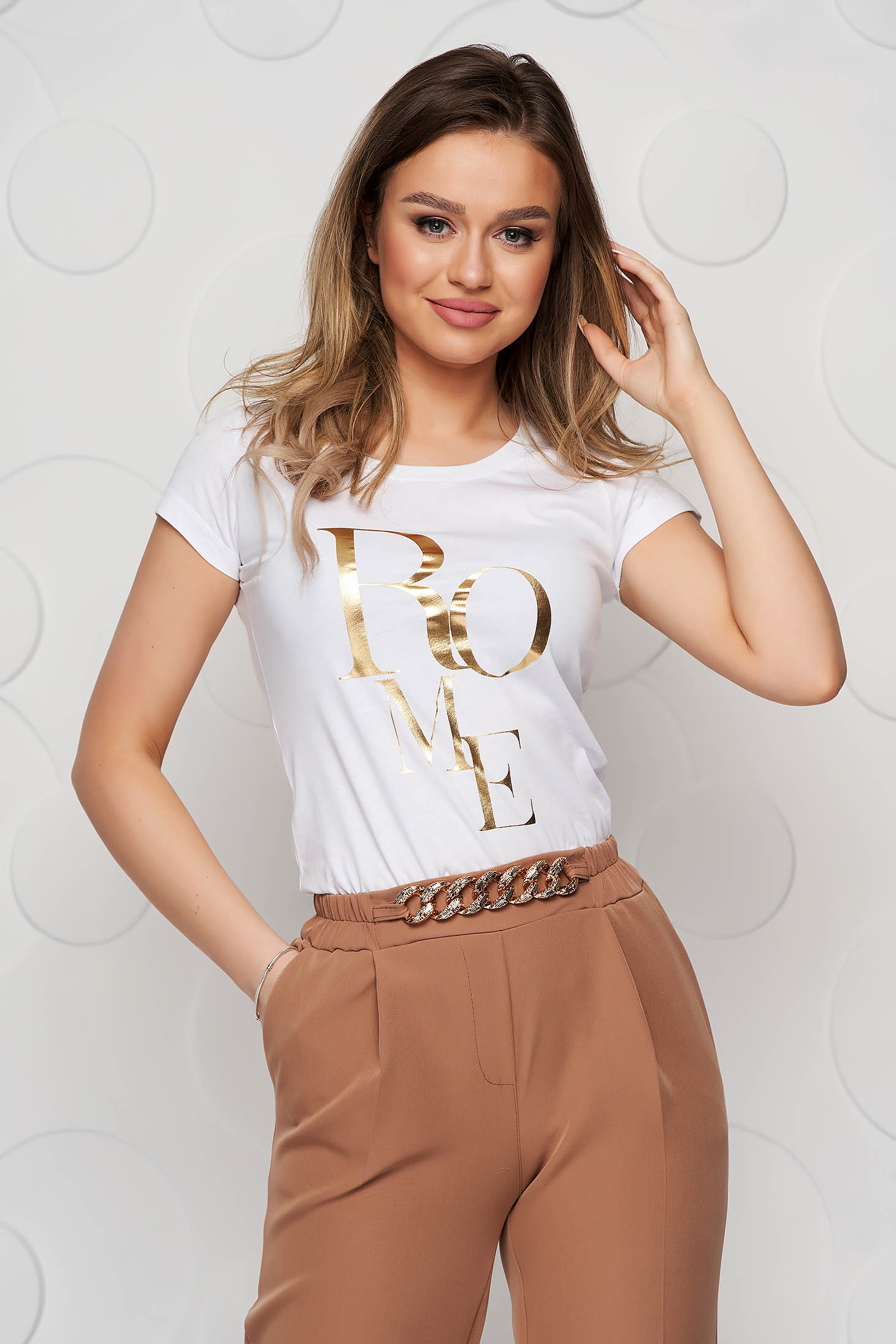 White t-shirt elastic cotton with graphic details loose fit