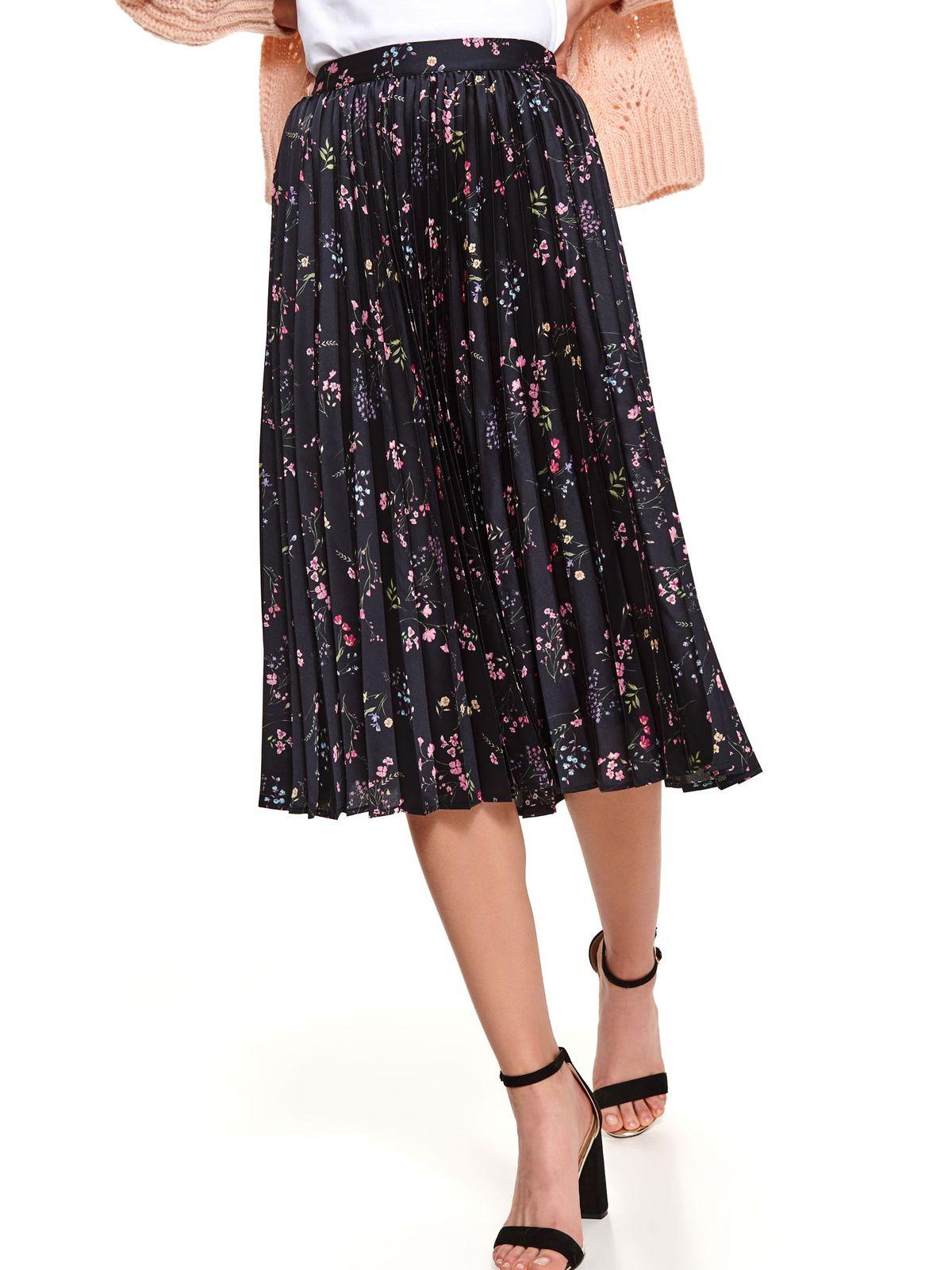 Black skirt midi cloche folded up high waisted