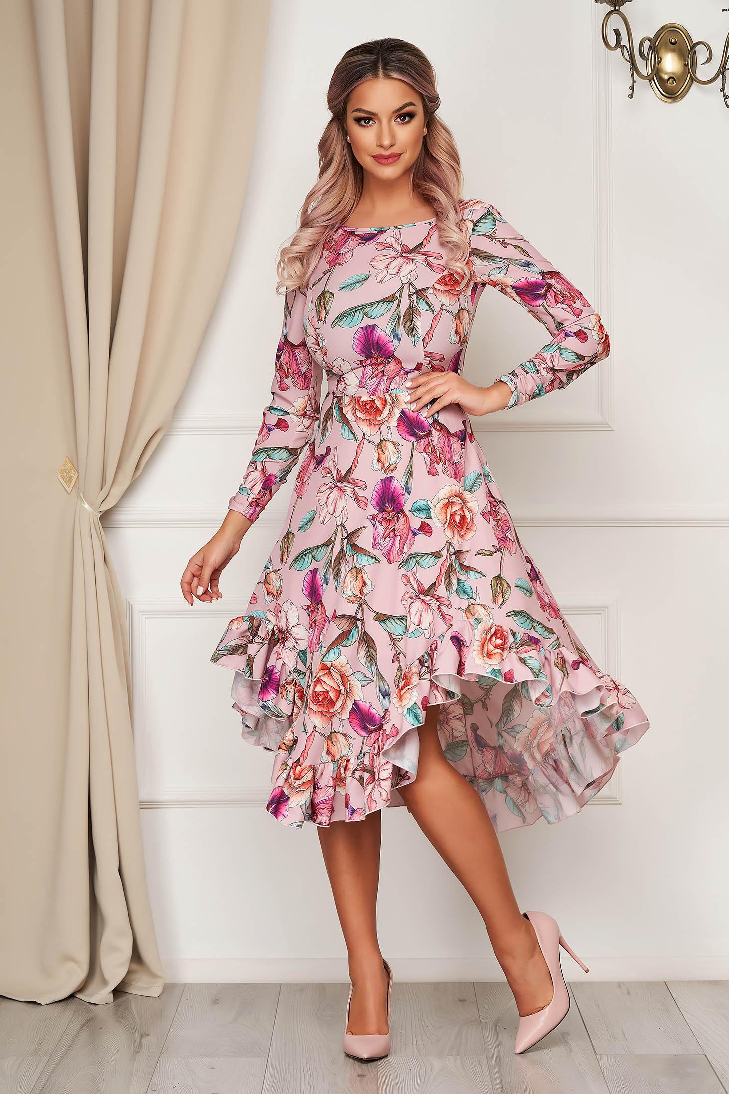 StarShinerS pink dress elegant asymmetrical cloche thin fabric