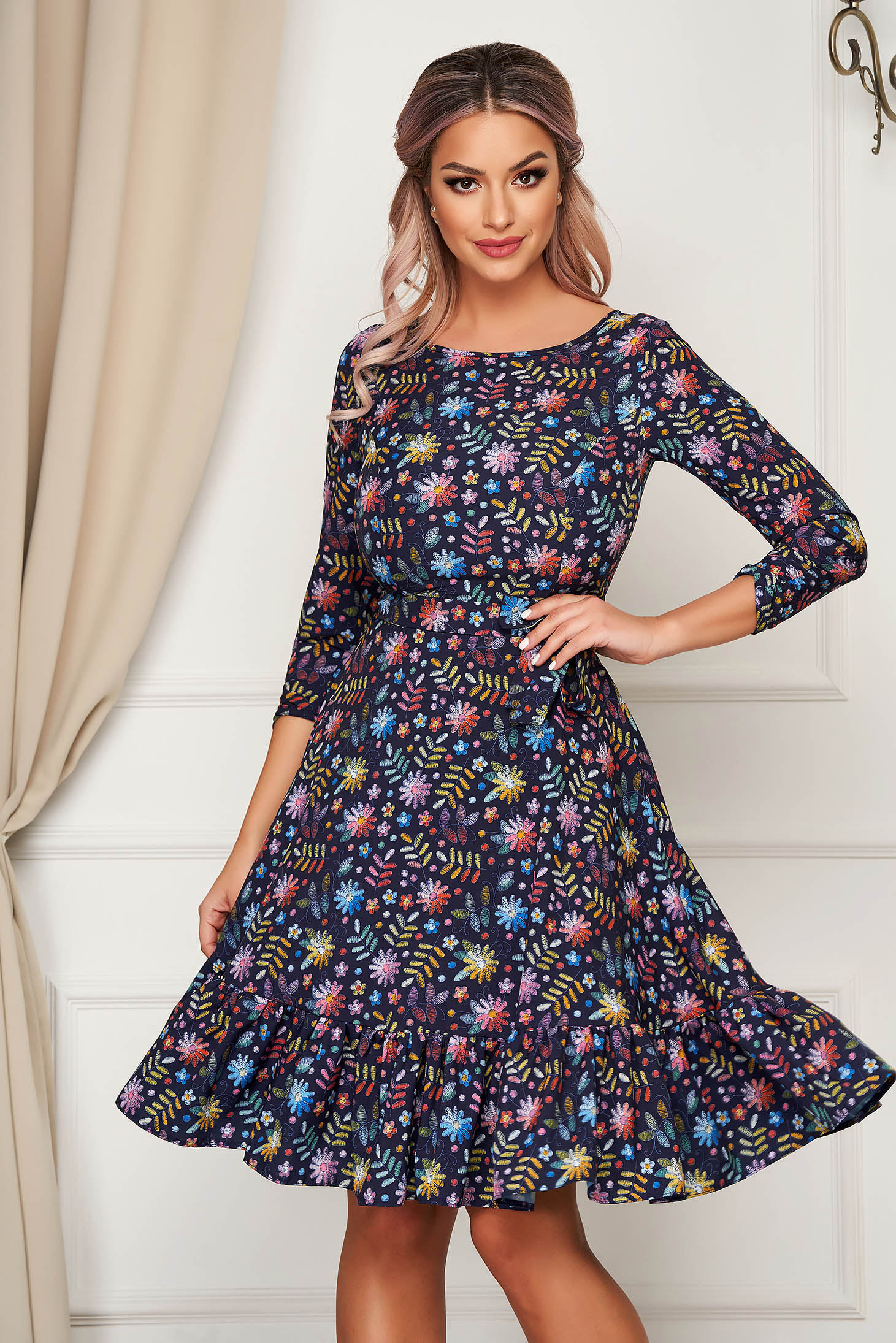 StarShinerS darkblue dress midi daily cloche thin fabric with ruffles at the buttom of the dress